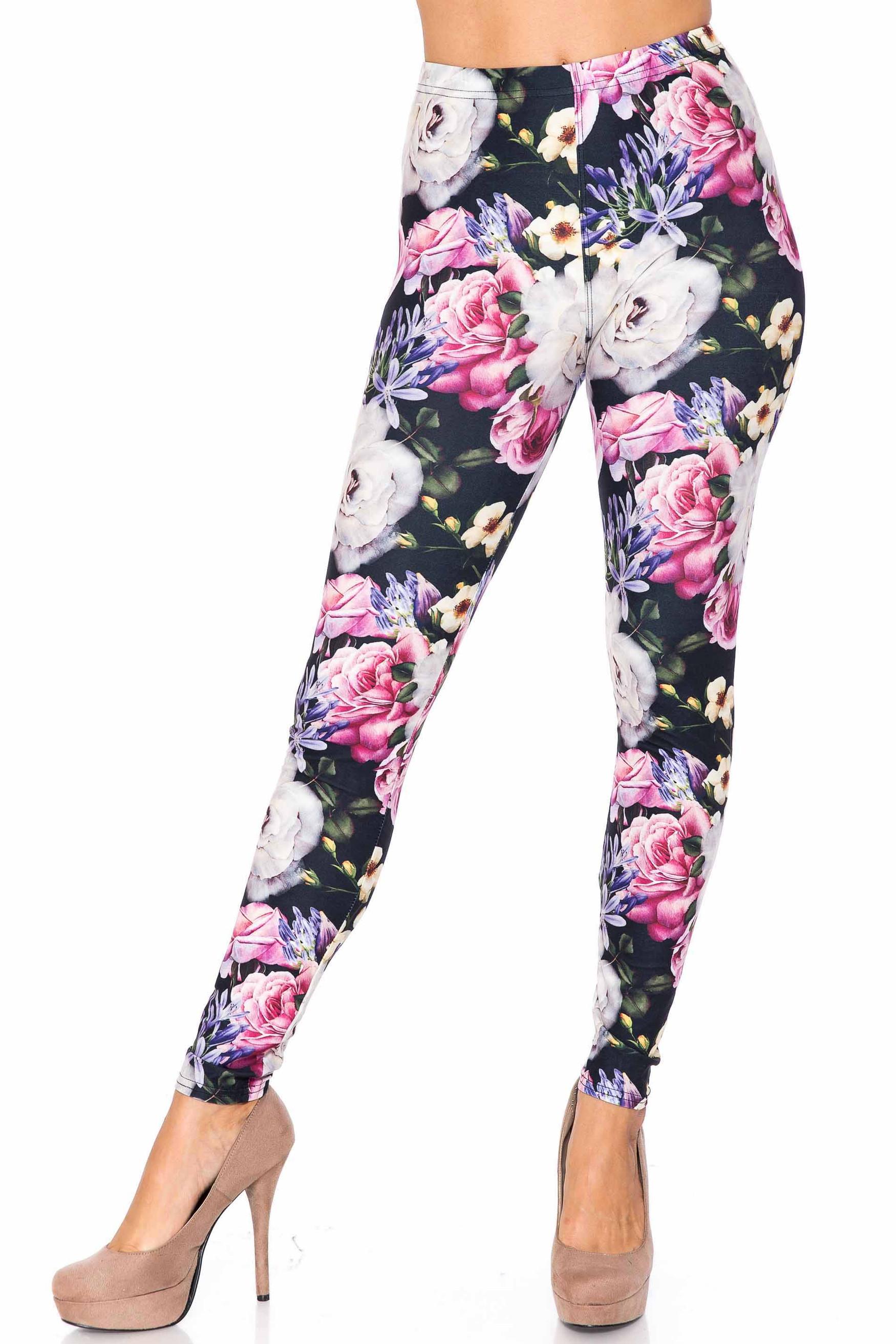 Creamy Soft Floral Garden Bouquet Plus Size Leggings - USA Fashion™