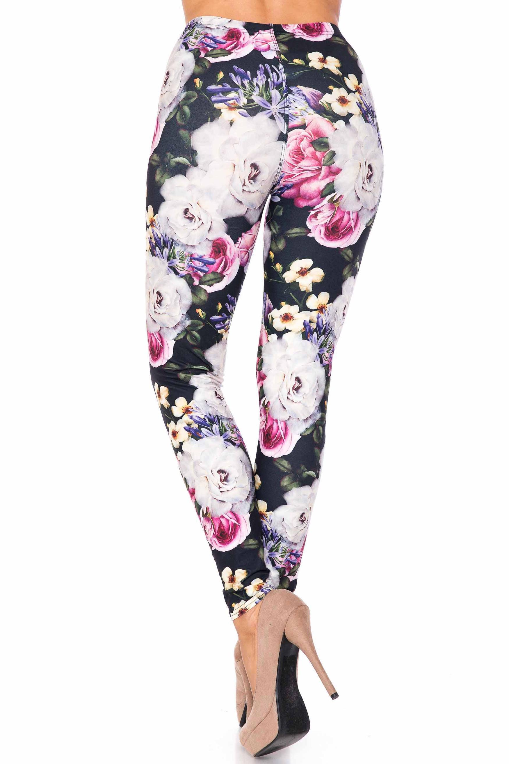 Creamy Soft Floral Garden Bouquet Extra Plus Size Leggings - 3X-5X - USA Fashion™