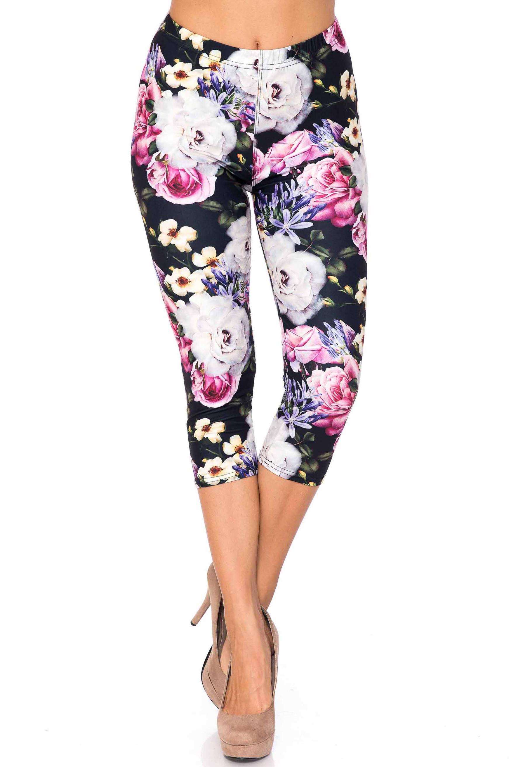 Creamy Soft Floral Garden Bouquet Extra Plus Size Capris - 3X-5X - USA Fashion™