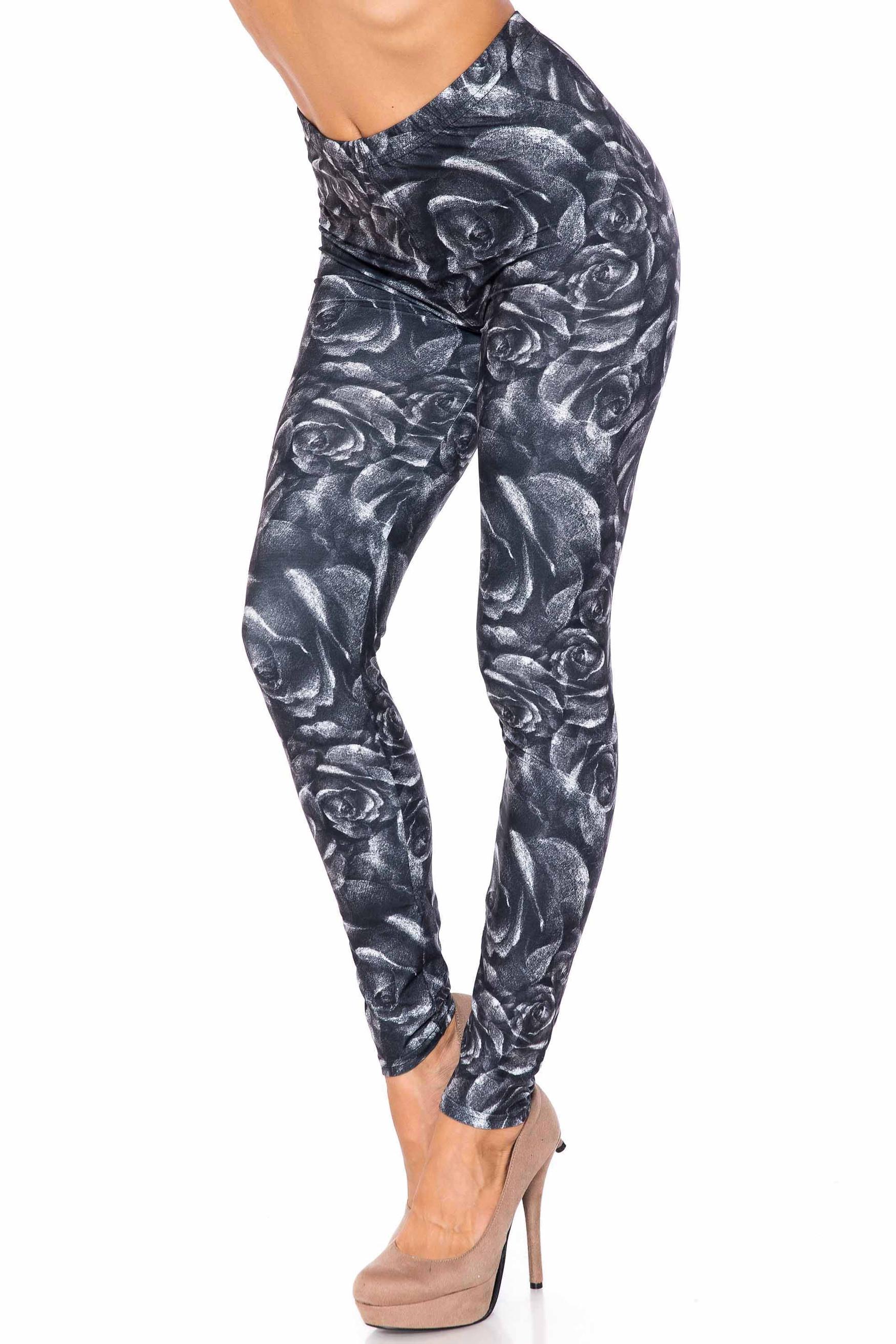 Creamy Soft Monochrome Rose Floral Extra Plus Size Leggings - 3X-5X - USA Fashion™