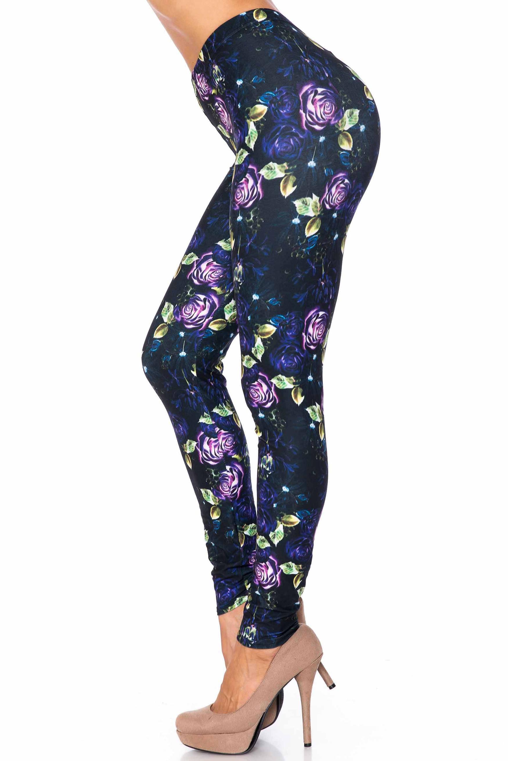 Creamy Soft Purple and Violet Rose Leggings - USA Fashion™
