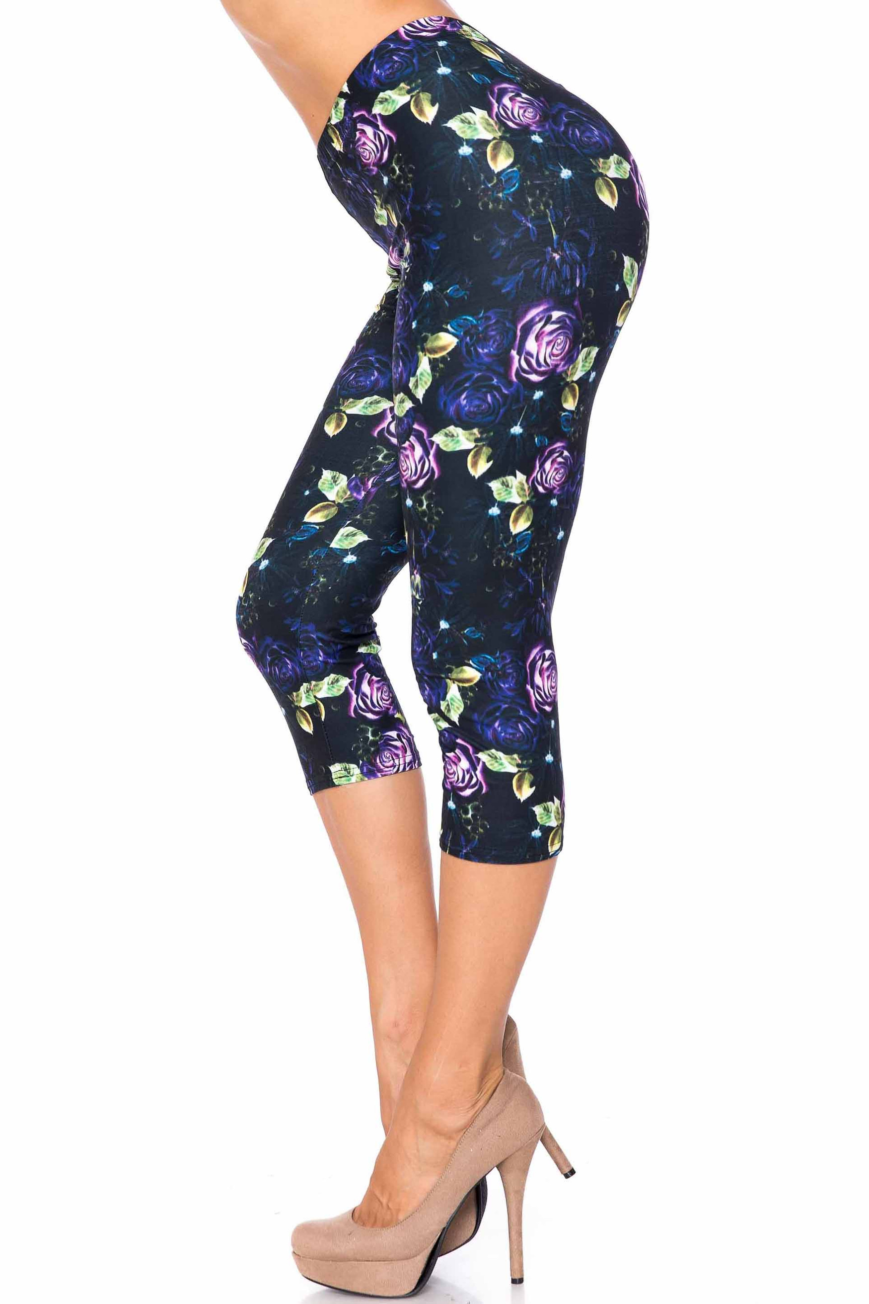 Creamy Soft Purple and Violet Rose Extra Plus Size Capris - 3X-5X - USA Fashion™