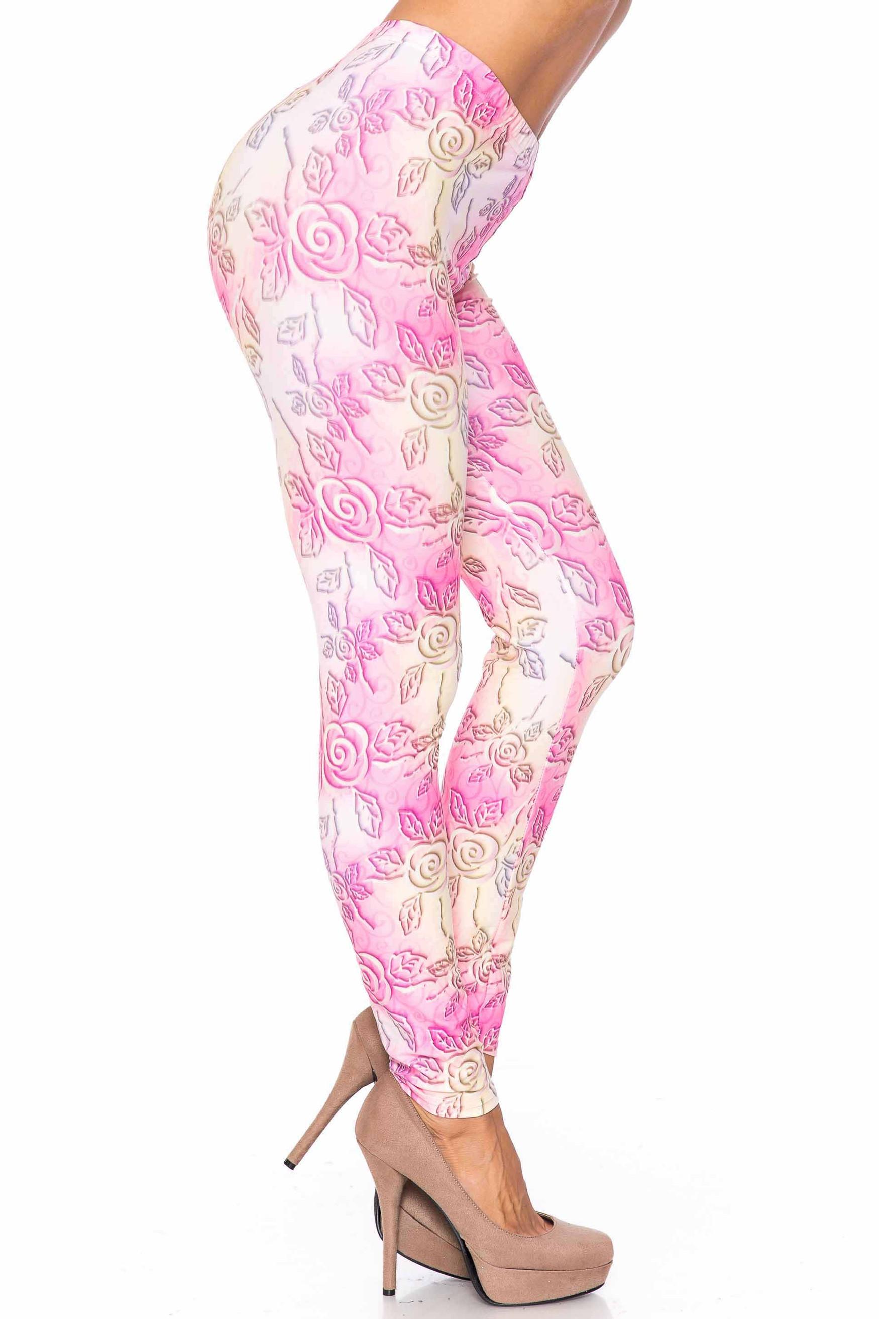Creamy Soft 3D Pastel Ombre Rose Extra Plus Size Leggings - USA Fashion™