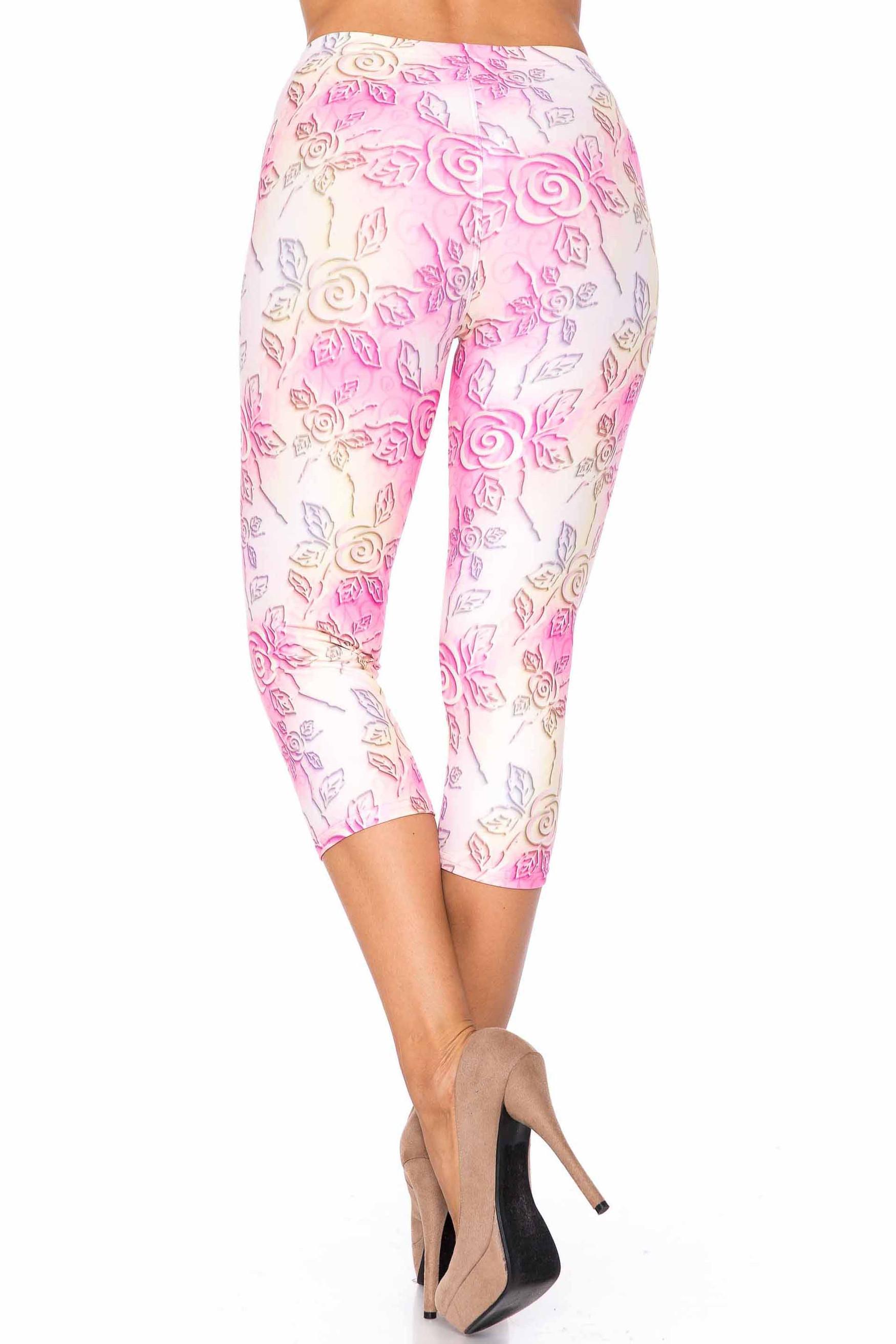 Creamy Soft 3D Pastel Ombre Rose Plus Size Capris - USA Fashion™