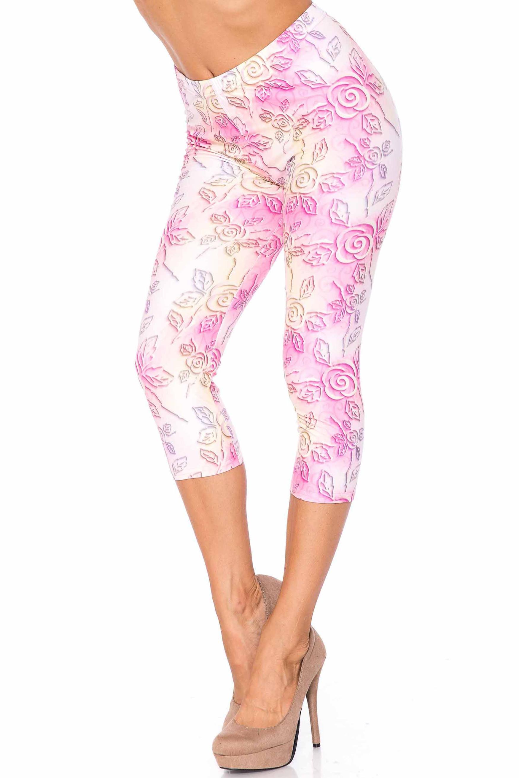 Creamy Soft 3D Pastel Ombre Rose Extra Plus Size Capris - USA Fashion™