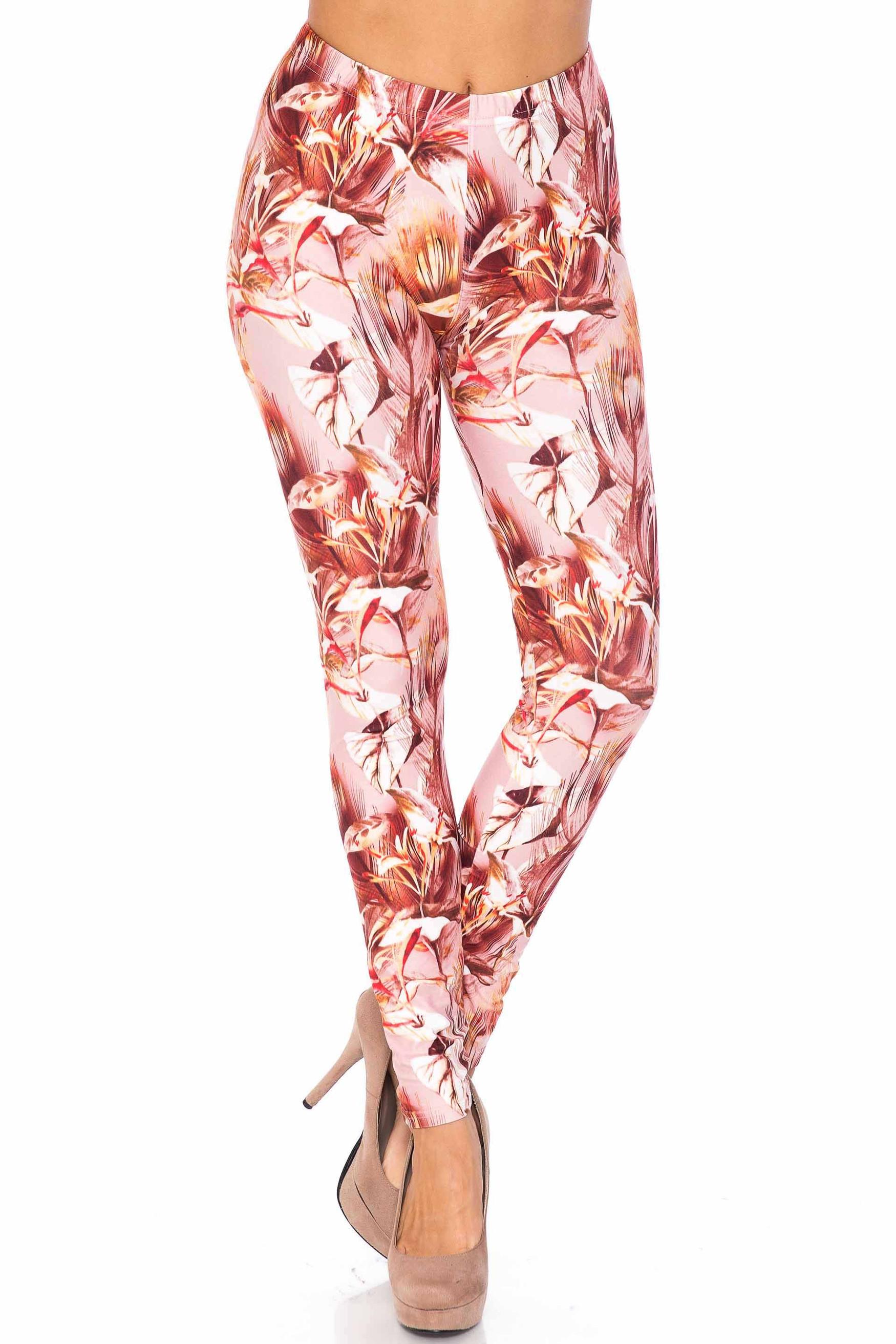 Creamy Soft Mocha Floral Kids Leggings - USA Fashion™