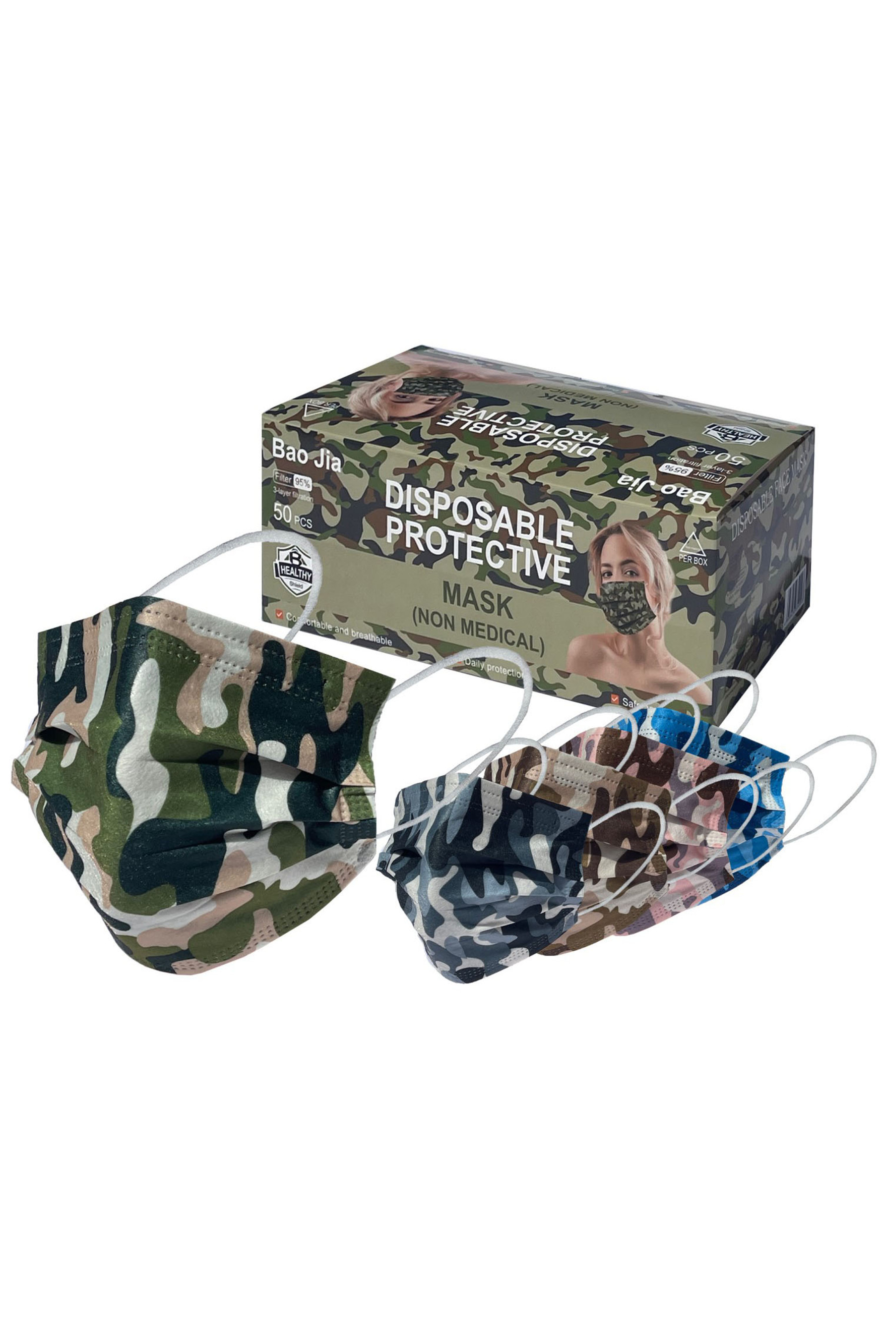 Camouflage Disposable Surgical Face Mask - 50 Pack - 5 Styles