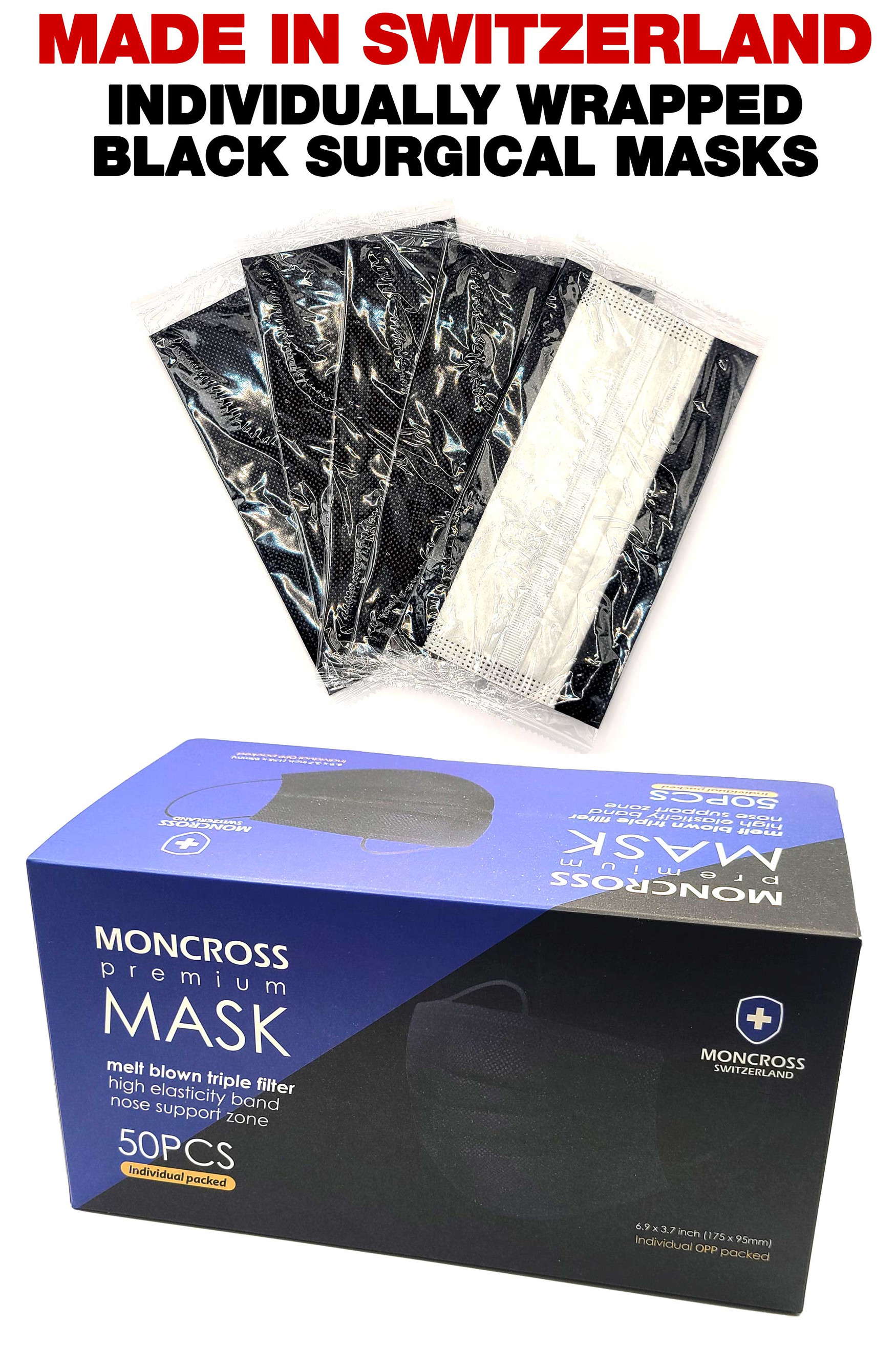 Premium Black Surgical Masks - 50 Pack - Individually Wrapped - Made in Switzerland