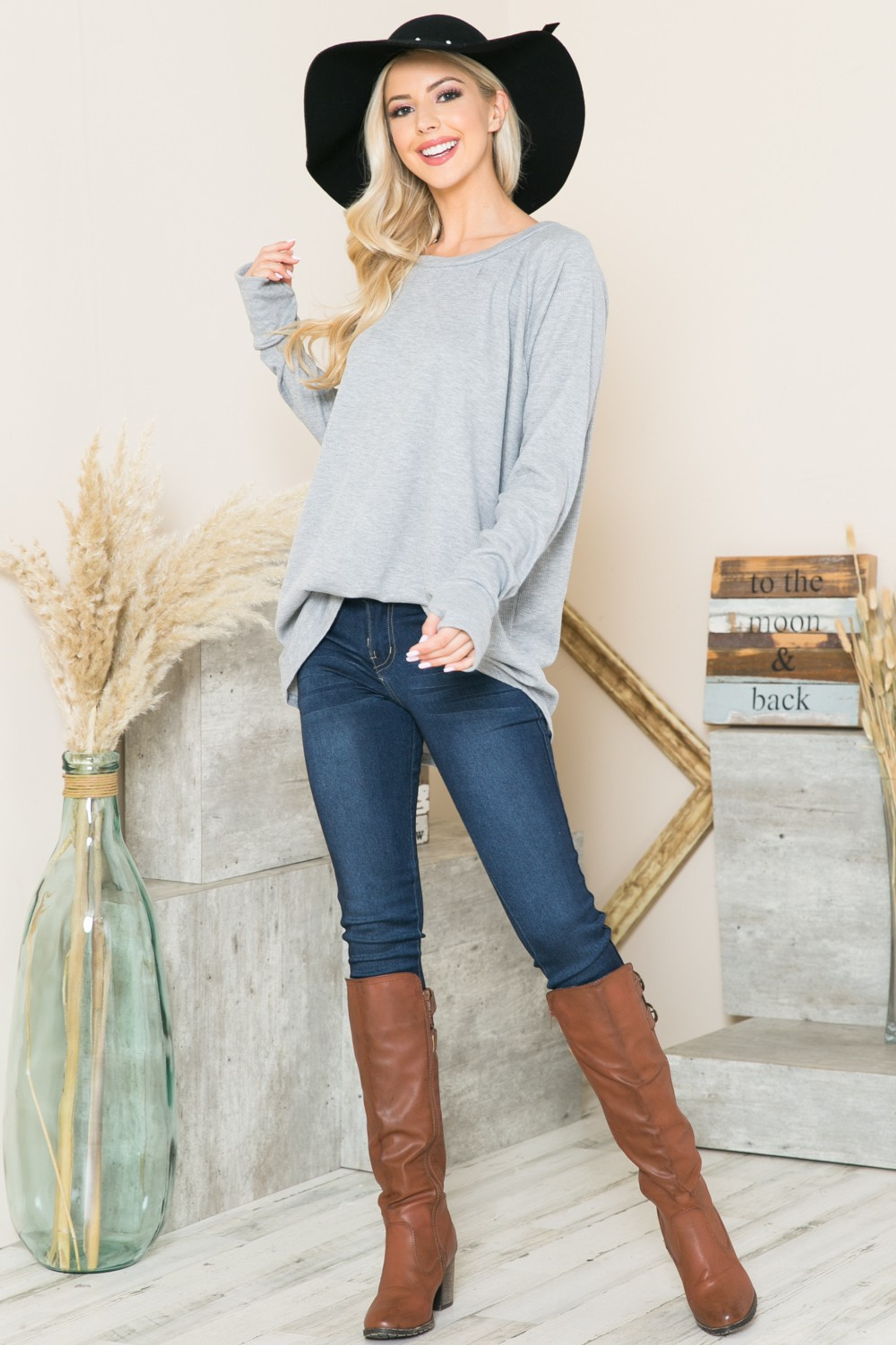 Heather Gray  Oversized Long Sleeve Thermal Tunic with Thumbholes