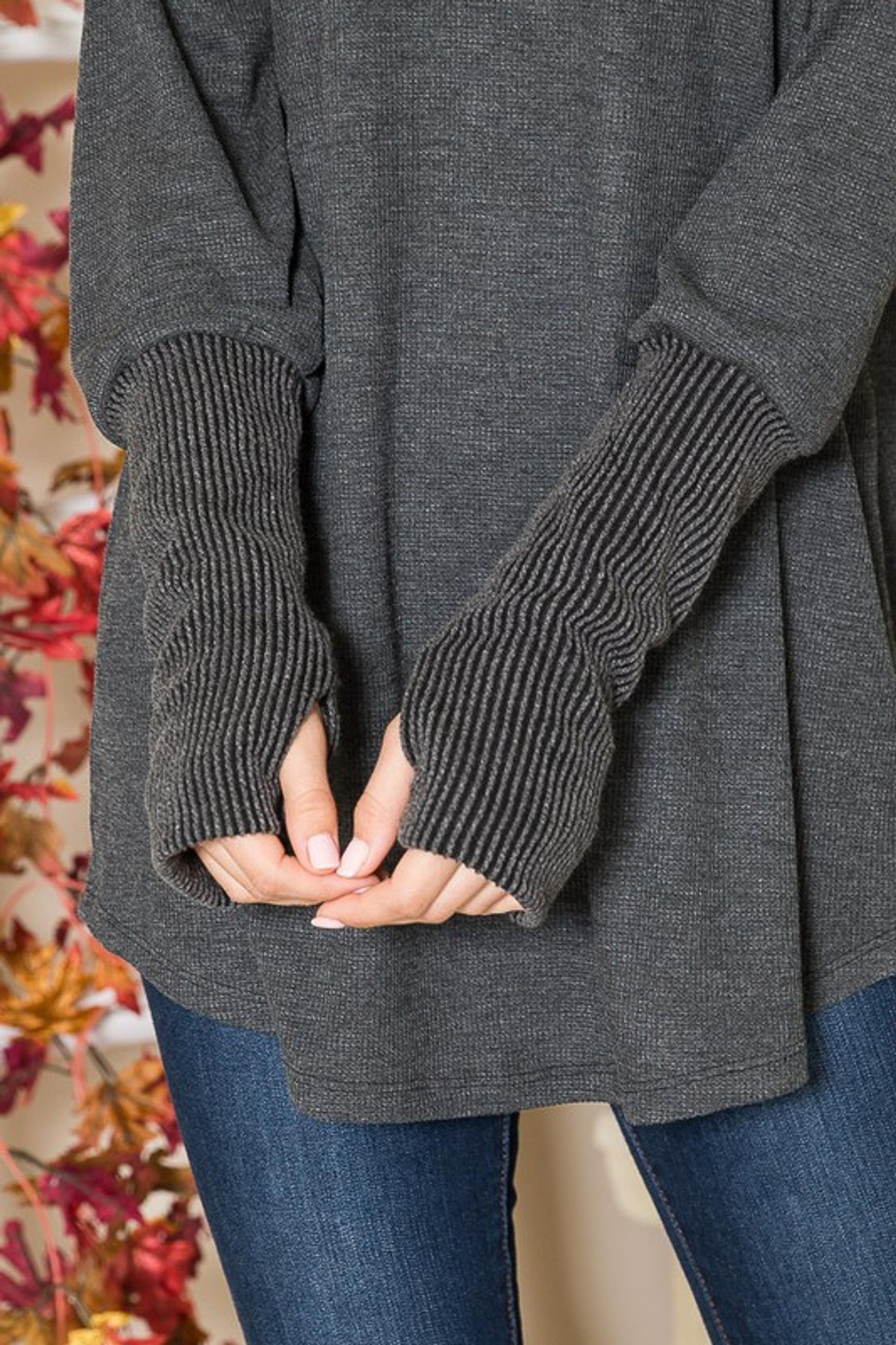 Oversized Ribbed Cuff Long Sleeve Tunic with Thumbholes
