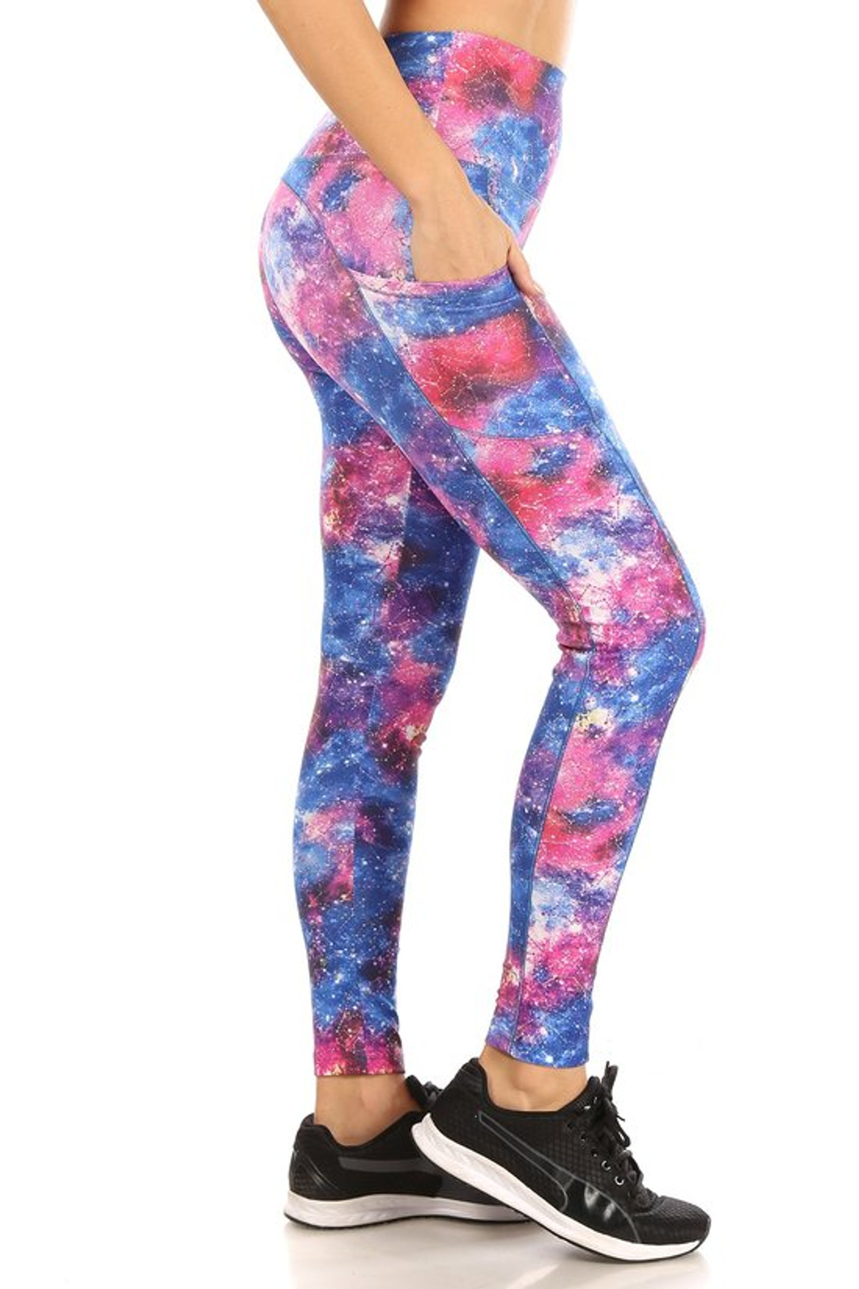 Tie Dye Galaxy High Waisted Workout Leggings with Side Pockets