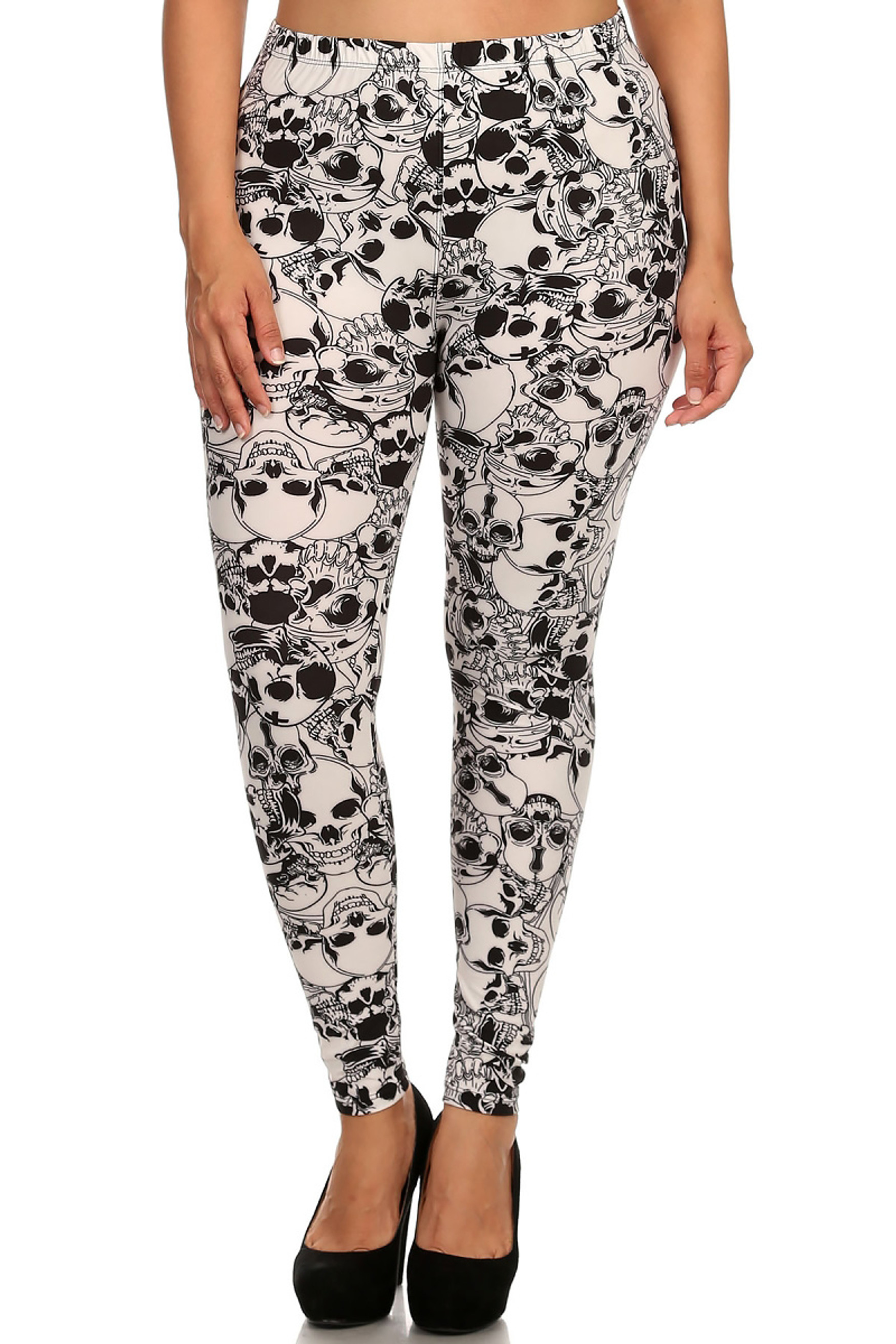 Front image of  Buttery Soft White Layers of Skulls Plus Size Leggings - 3X-5X