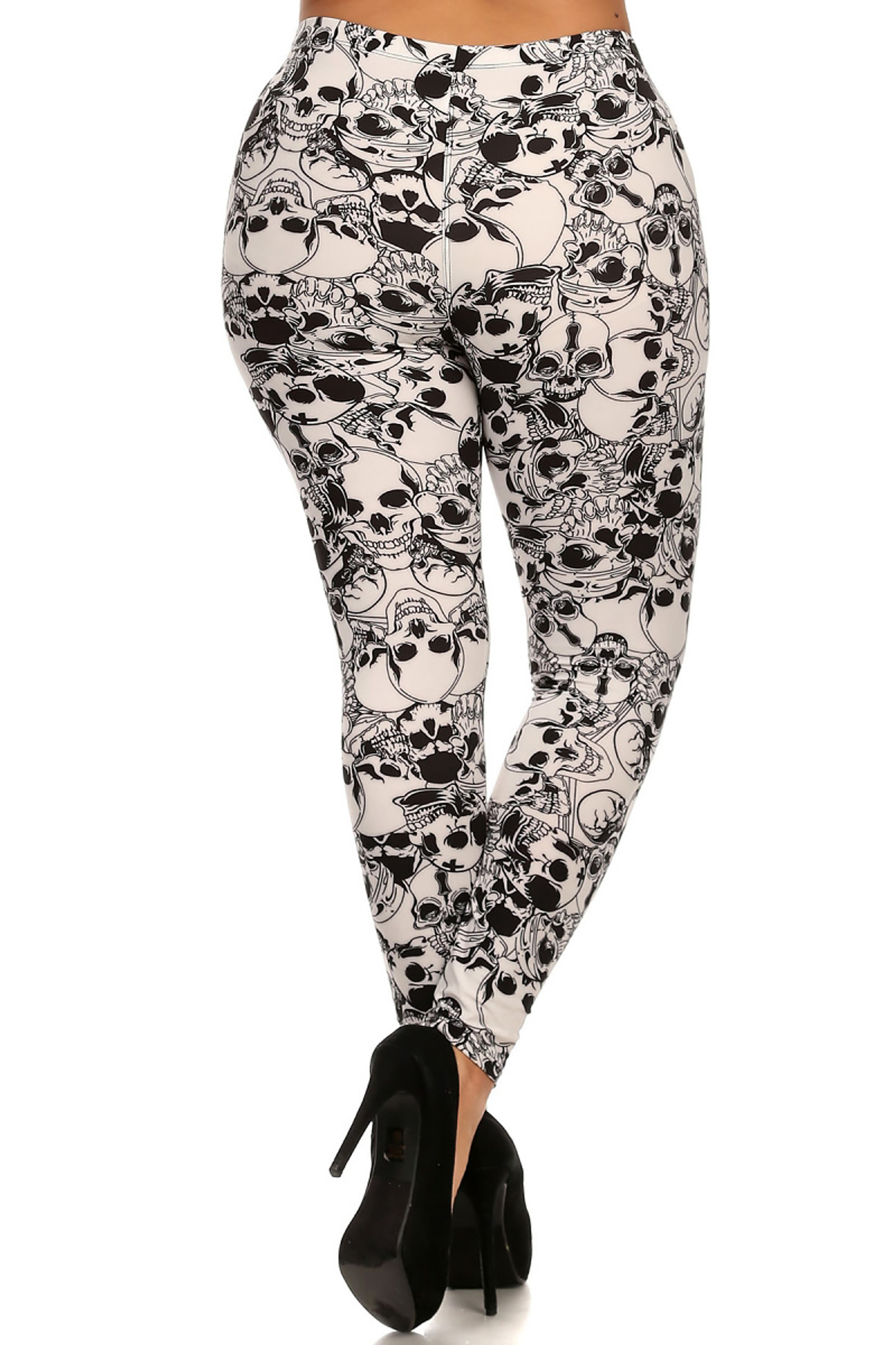 Back image of  Buttery Soft White Layers of Skulls Plus Size Leggings - 3X-5X