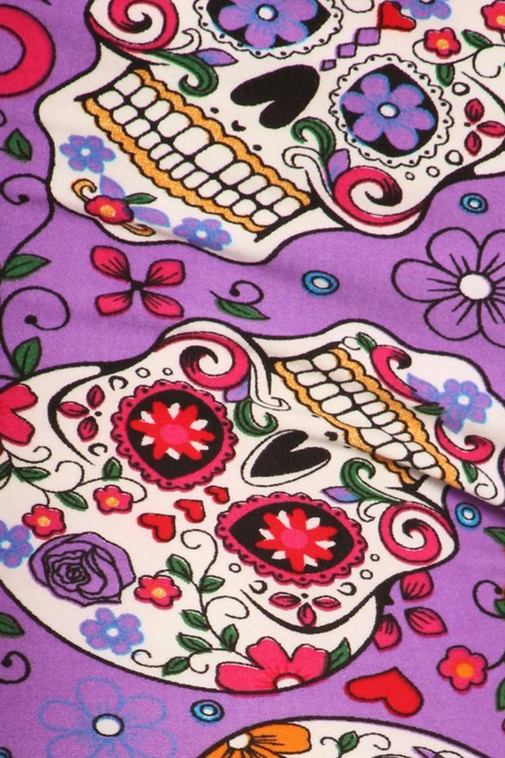 Buttery Soft Plus Size Purple Sugar Skull Leggings