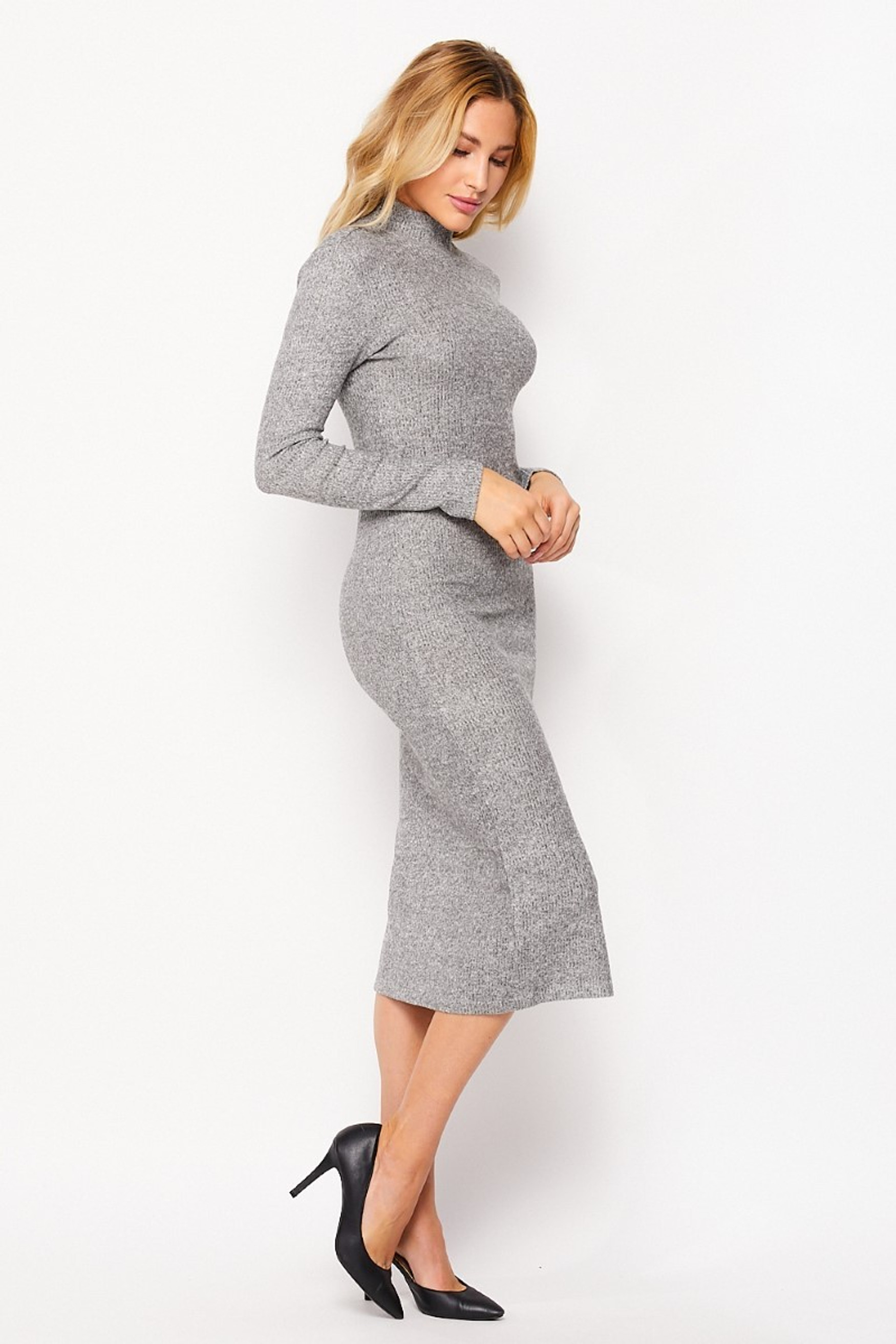 Right side image of Heather Gray  Solid Fitted Rayon Mock Neck Long Sleeve Side Slit Midi Dress
