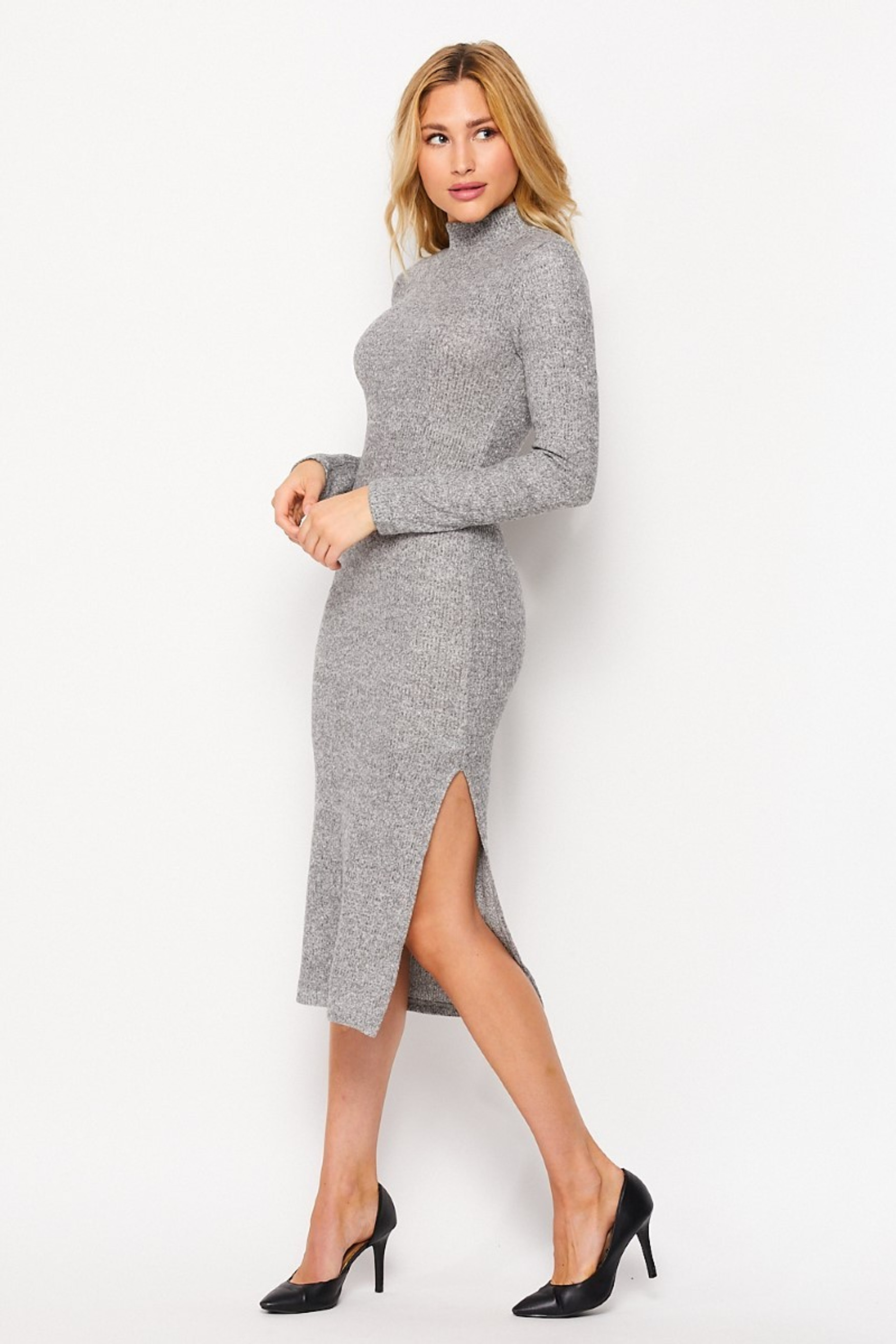 Left side image of Heather Gray  Solid Fitted Rayon Mock Neck Long Sleeve Side Slit Midi Dress