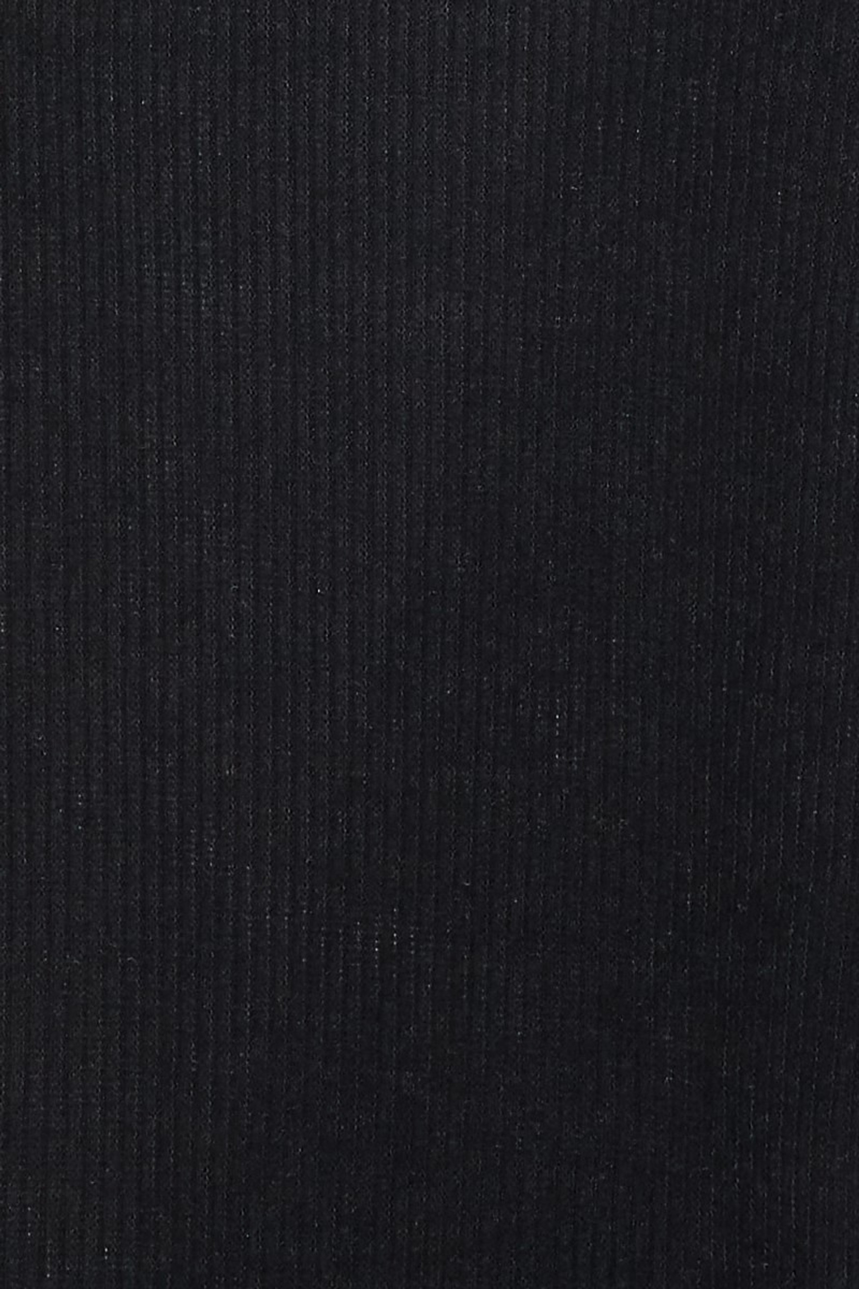 Close-up fabric swatch image of Black  Solid Fitted Rayon Mock Neck Long Sleeve Side Slit Midi Dress