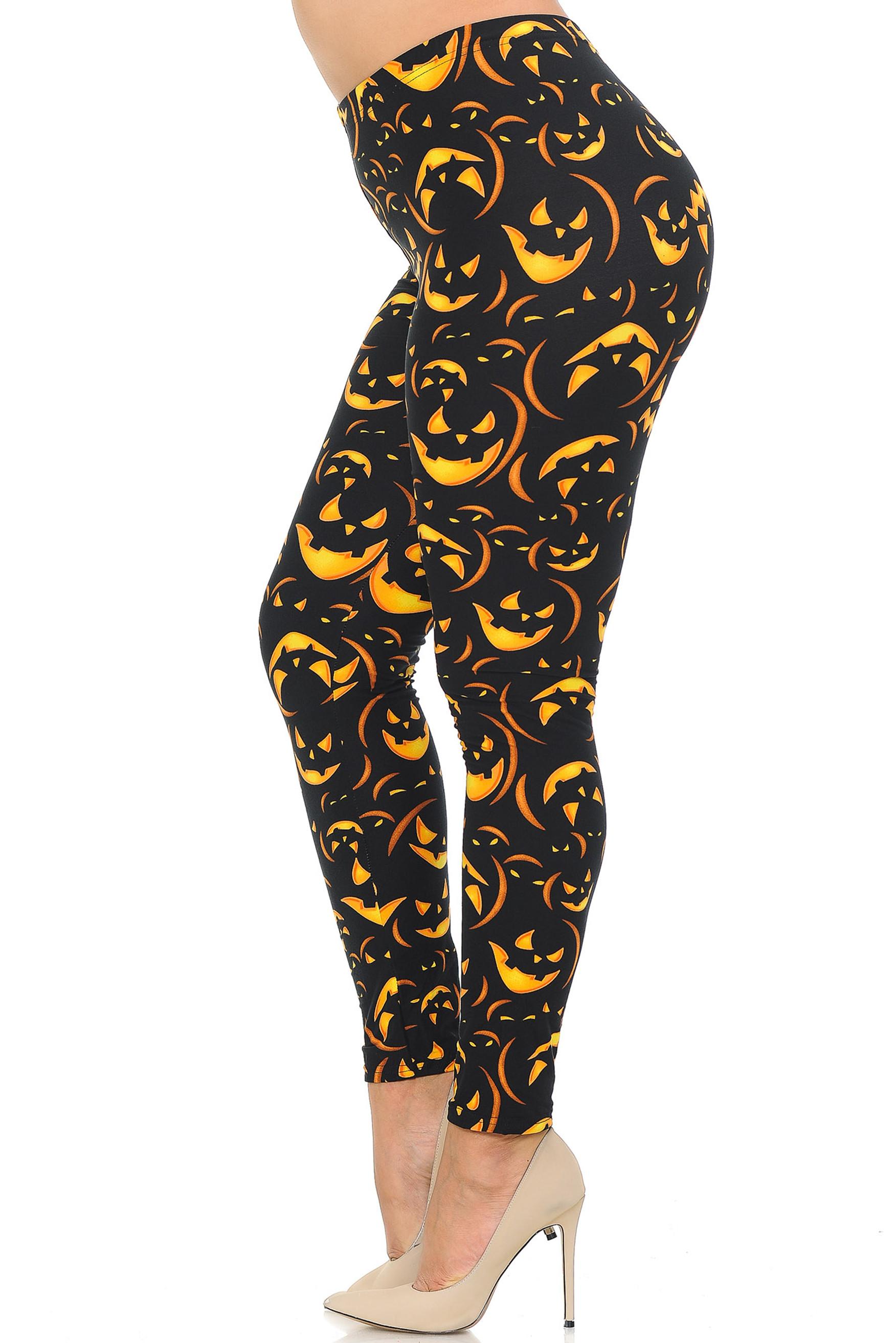 Left side view of Buttery Soft Evil Halloween Pumpkins Plus Size Leggings
