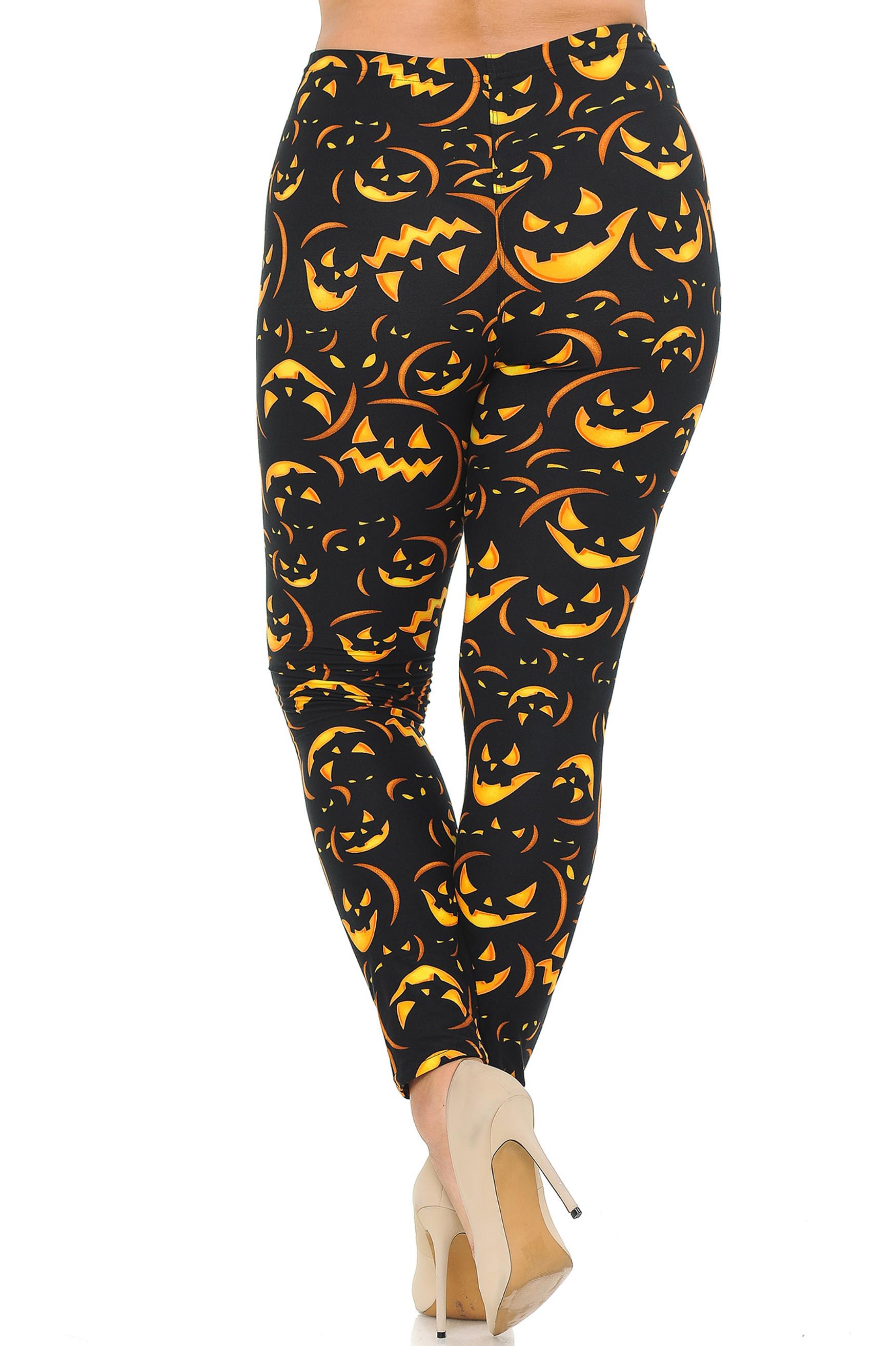 Back of Buttery Soft Evil Halloween Pumpkins Plus Size Leggings