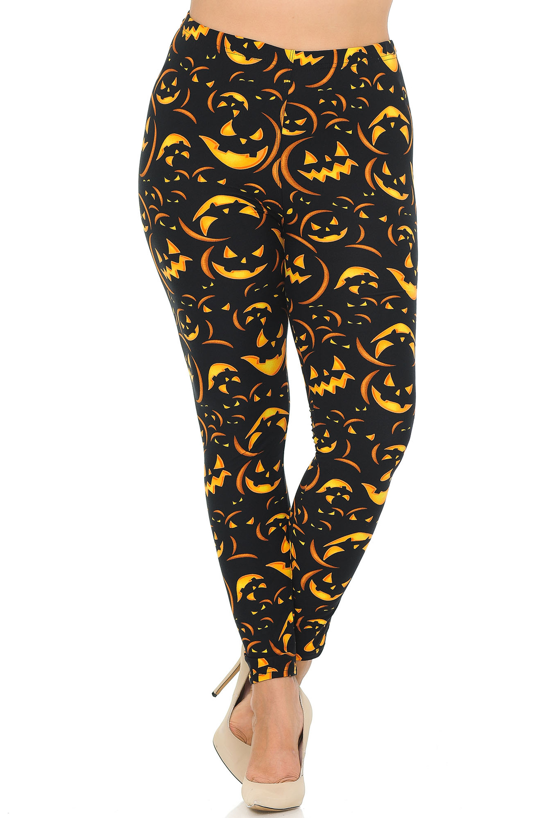 Front of Buttery Soft Evil Halloween Pumpkins Plus Size Leggings