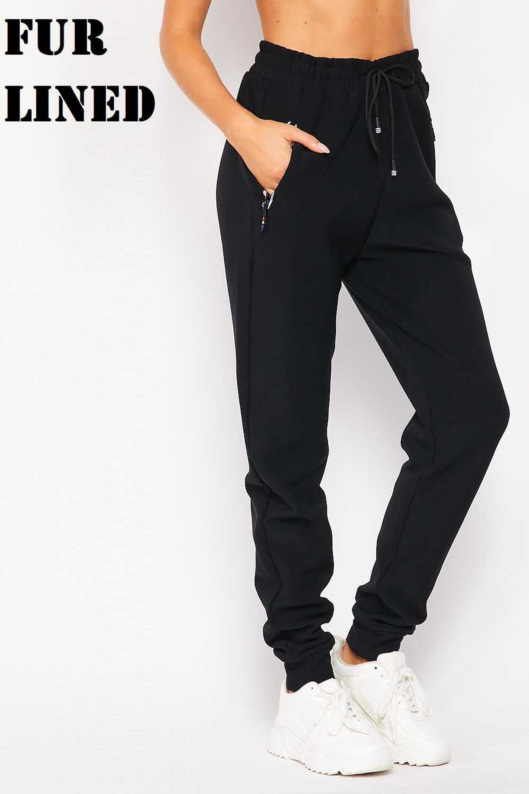 Wholesale Scuba Solid Fur Lined Jogger Pocket Zipper & Drawstring