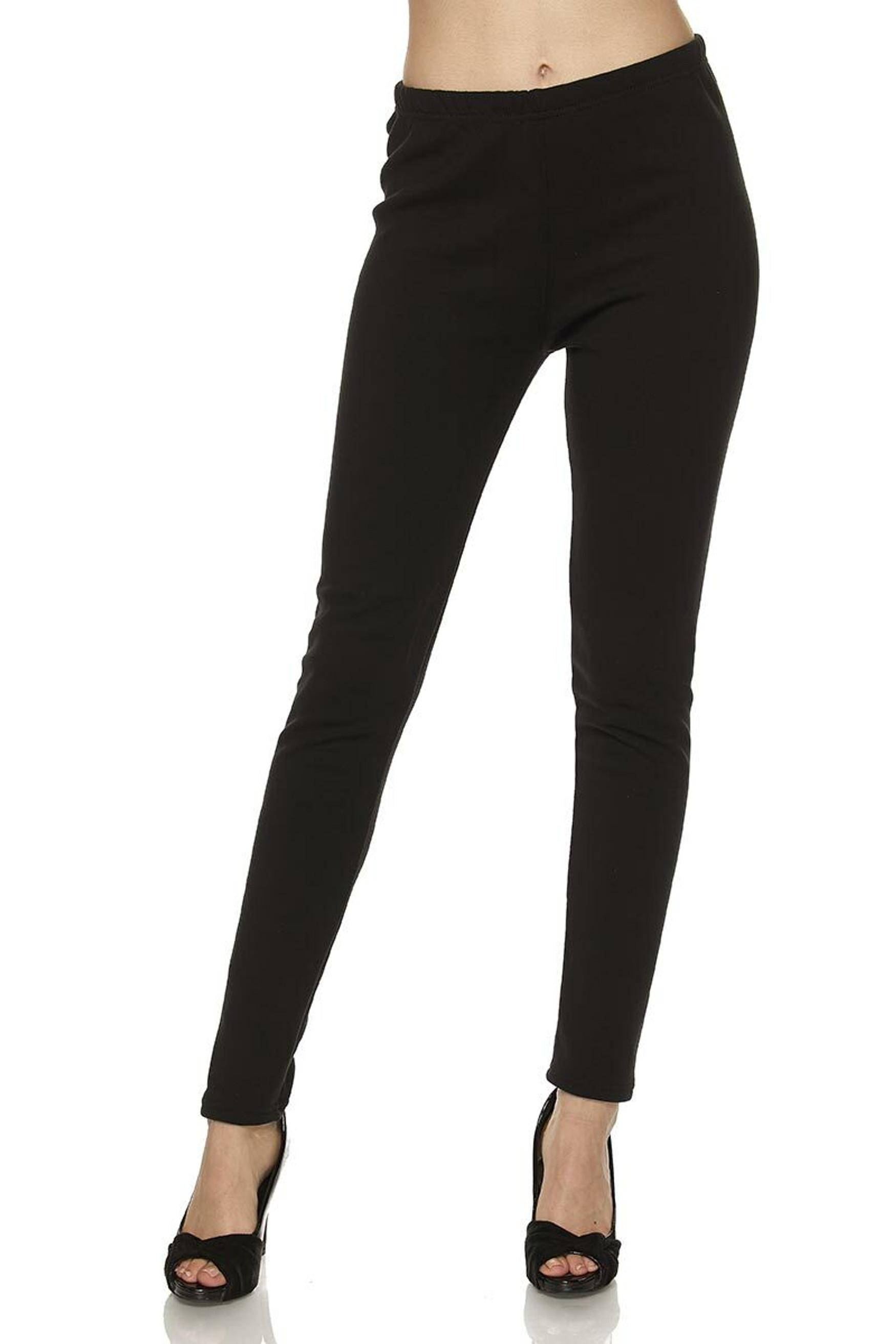 Wholesale Solid Warm Fur Lined Plus Size Leggings