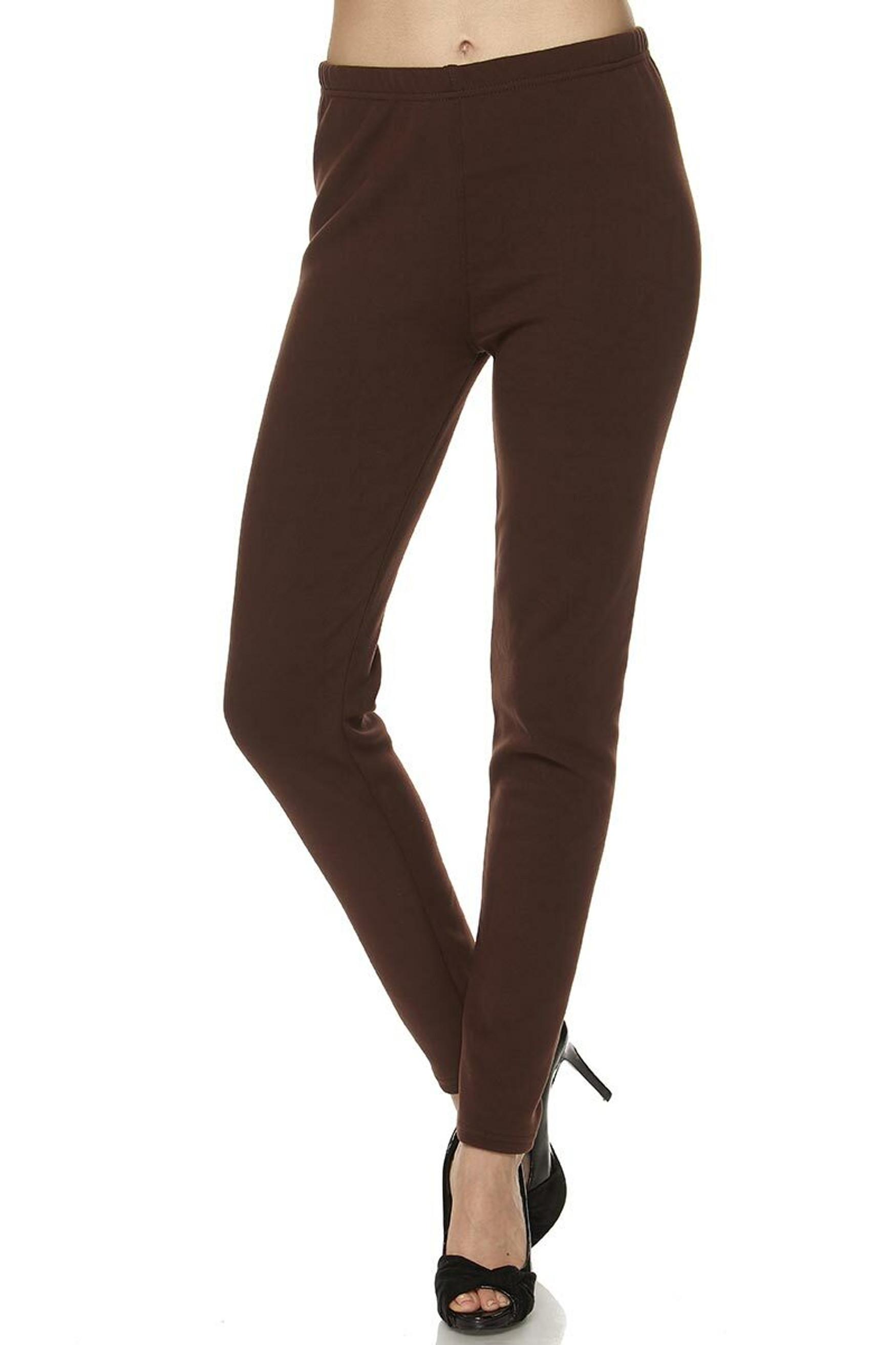 Solid Warm Fur Lined Plus Size Leggings