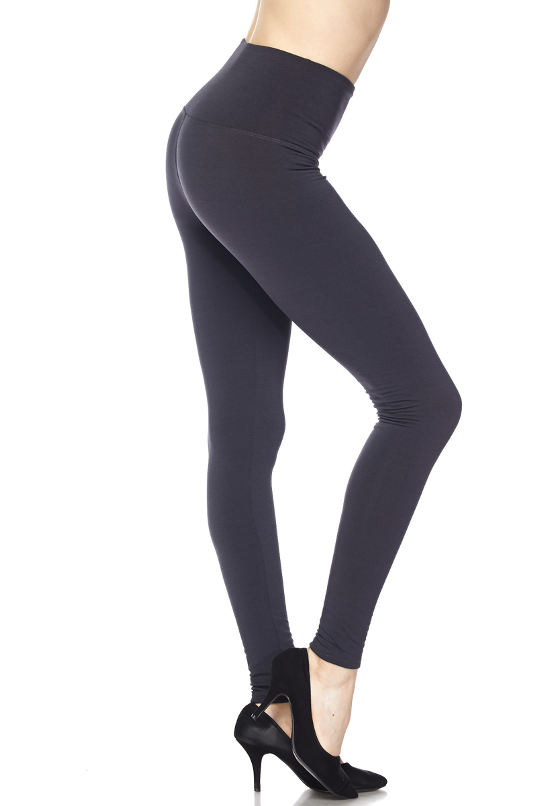 High Waisted Fleece Lined Leggings - 5 Inch Waistband