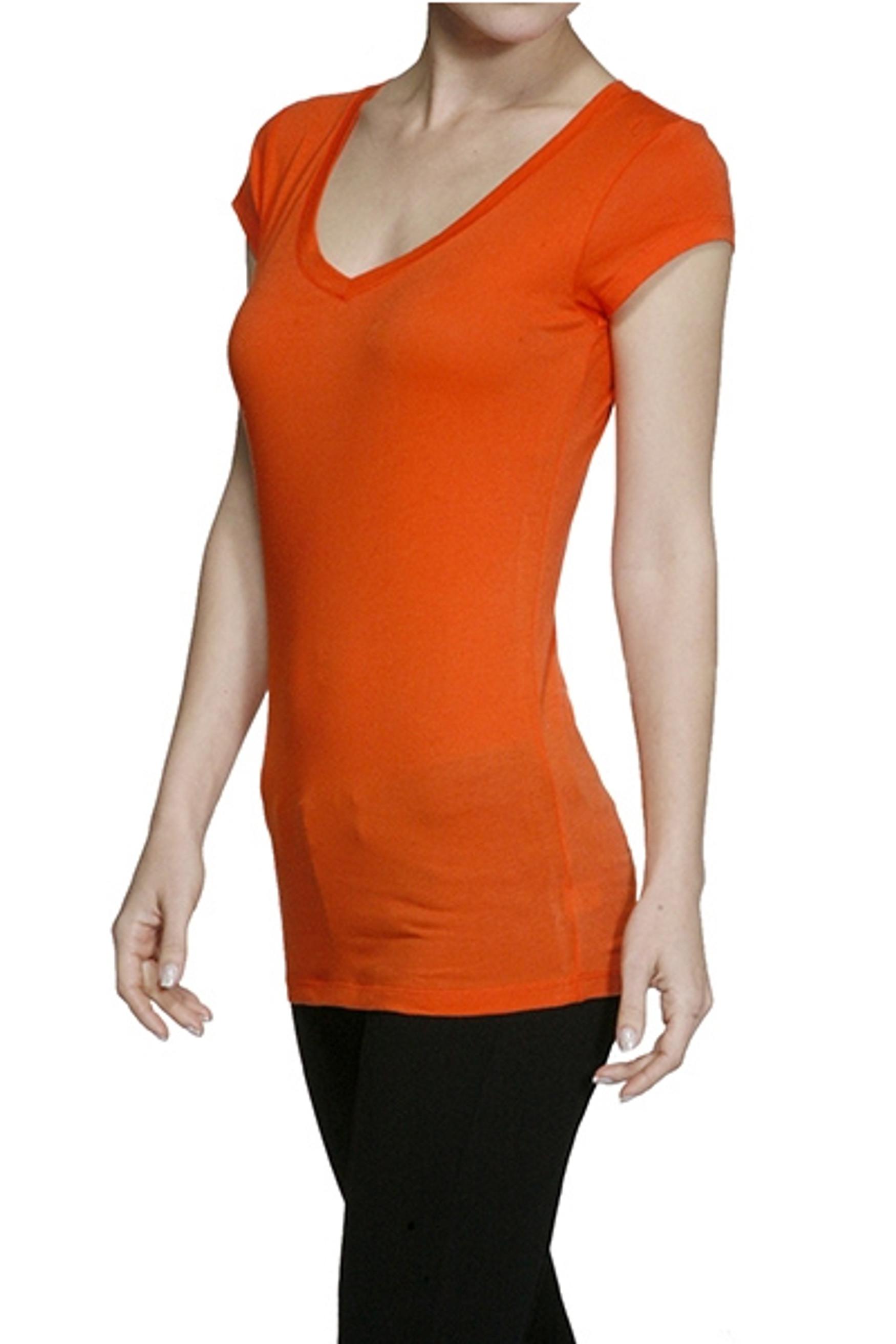 Plus Size Short Sleeve V Neck T Shirt