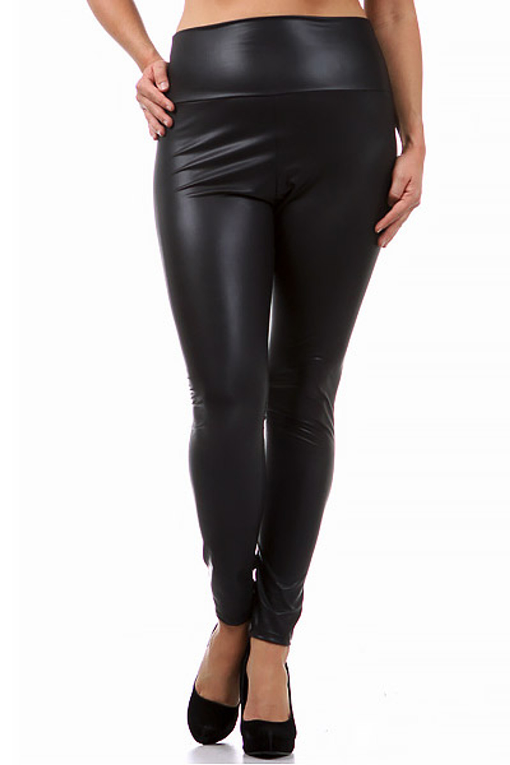 Matte High Waisted Faux Leather Plus Size Leggings