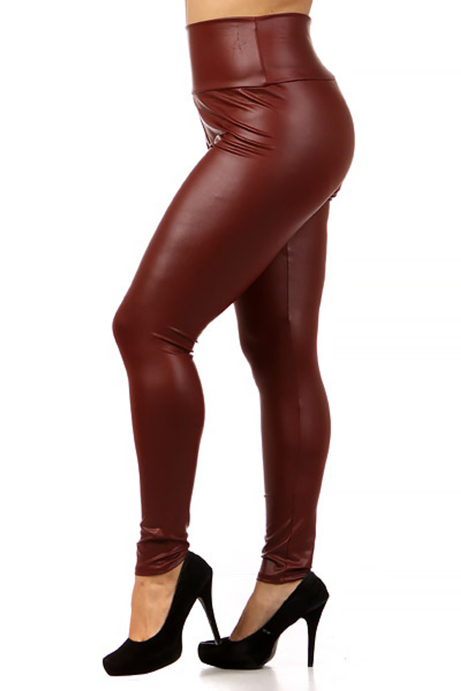 Burgundy Matte High Waisted Faux Leather Plus Size Leggings
