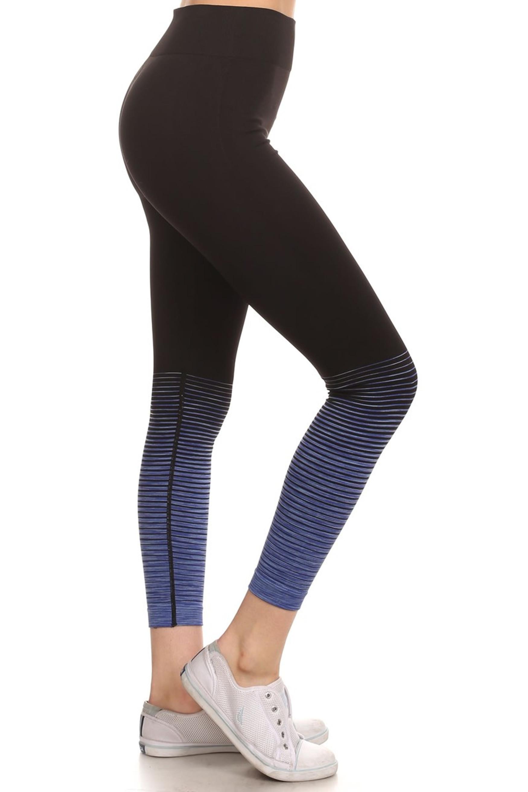Blue Tornado Color Fade Workout Leggings