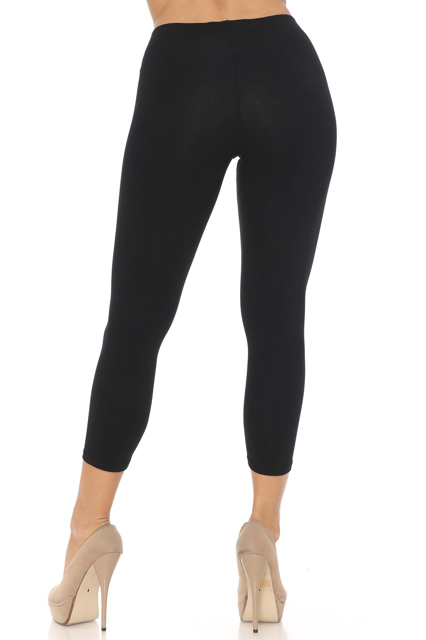 Rear view image of black USA Cotton Capri Length Leggings