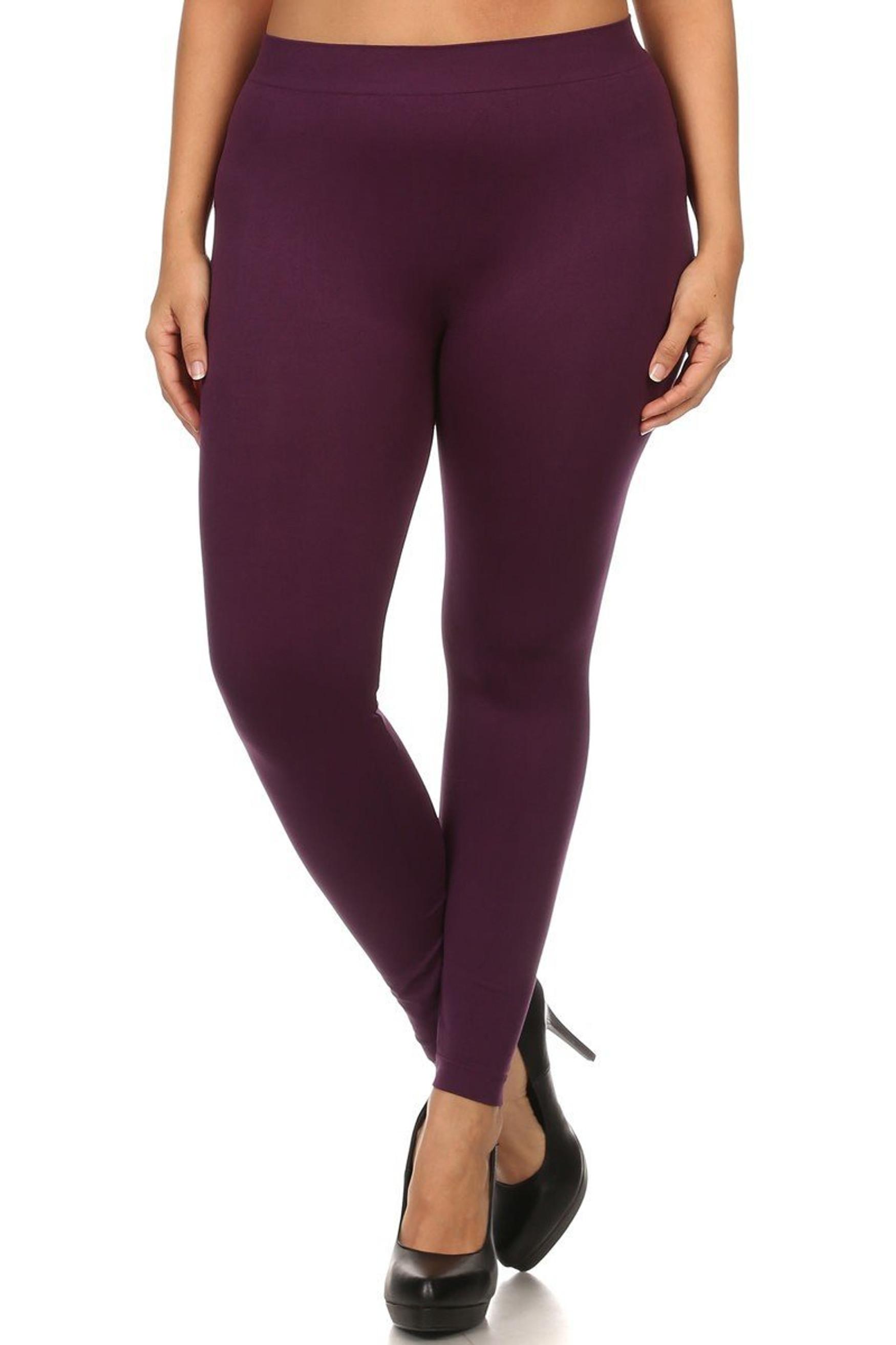 Purple Full Length Nylon Spandex Leggings - Plus Size