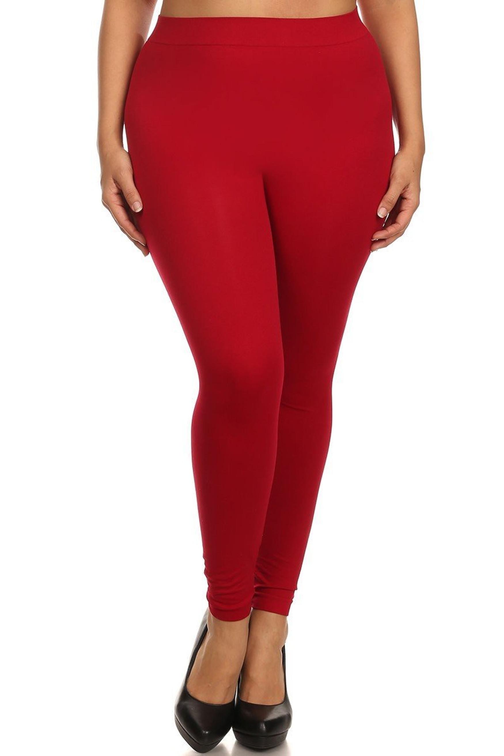 Red Full Length Nylon Spandex Leggings - Plus Size