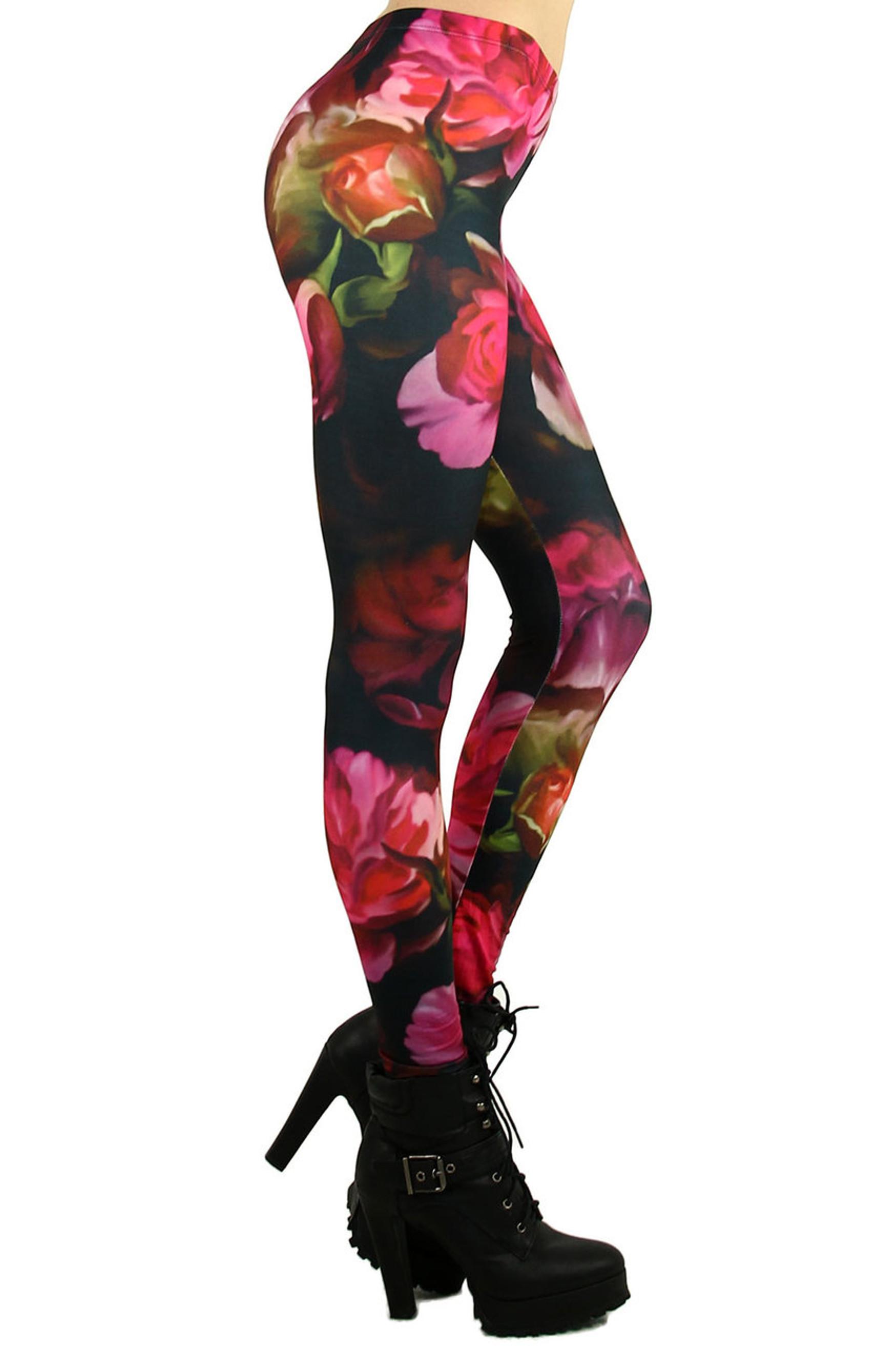 Gorgeous Blooming Rose Leggings