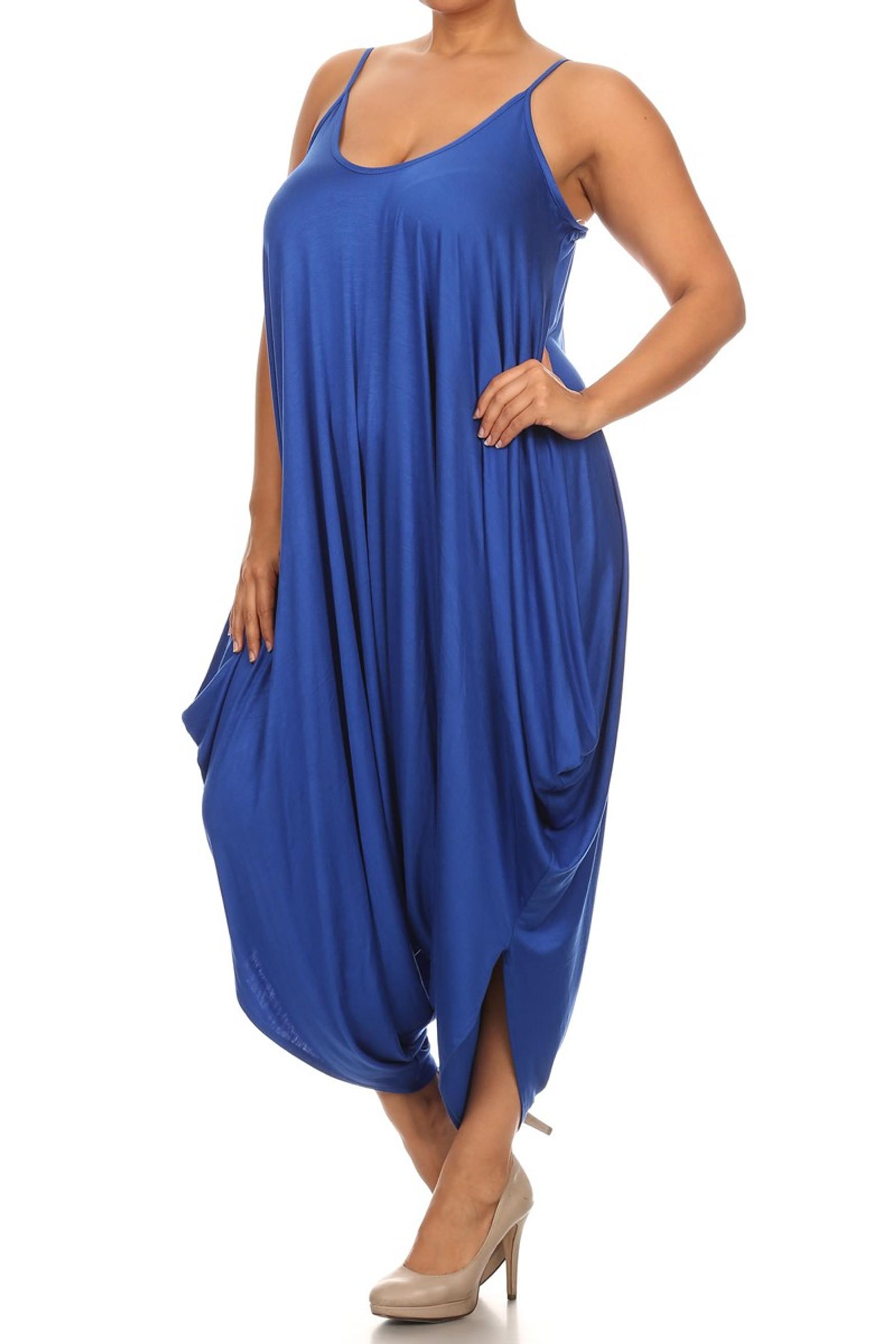 Royal Blue Bohemian Harem Jumpsuit - Plus Size