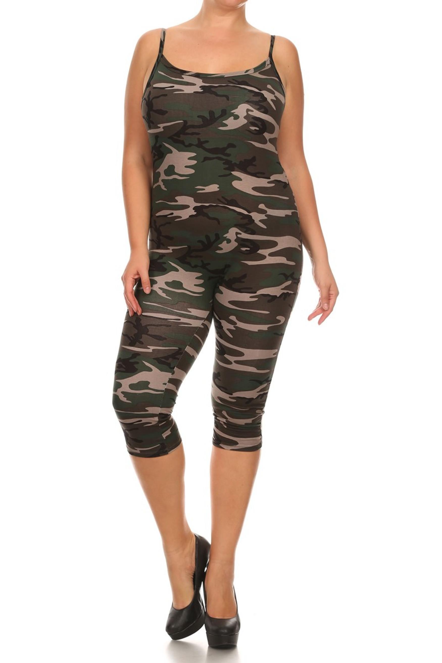 Camouflage Spaghetti Strap Capri Length Jumpsuit - Plus Size