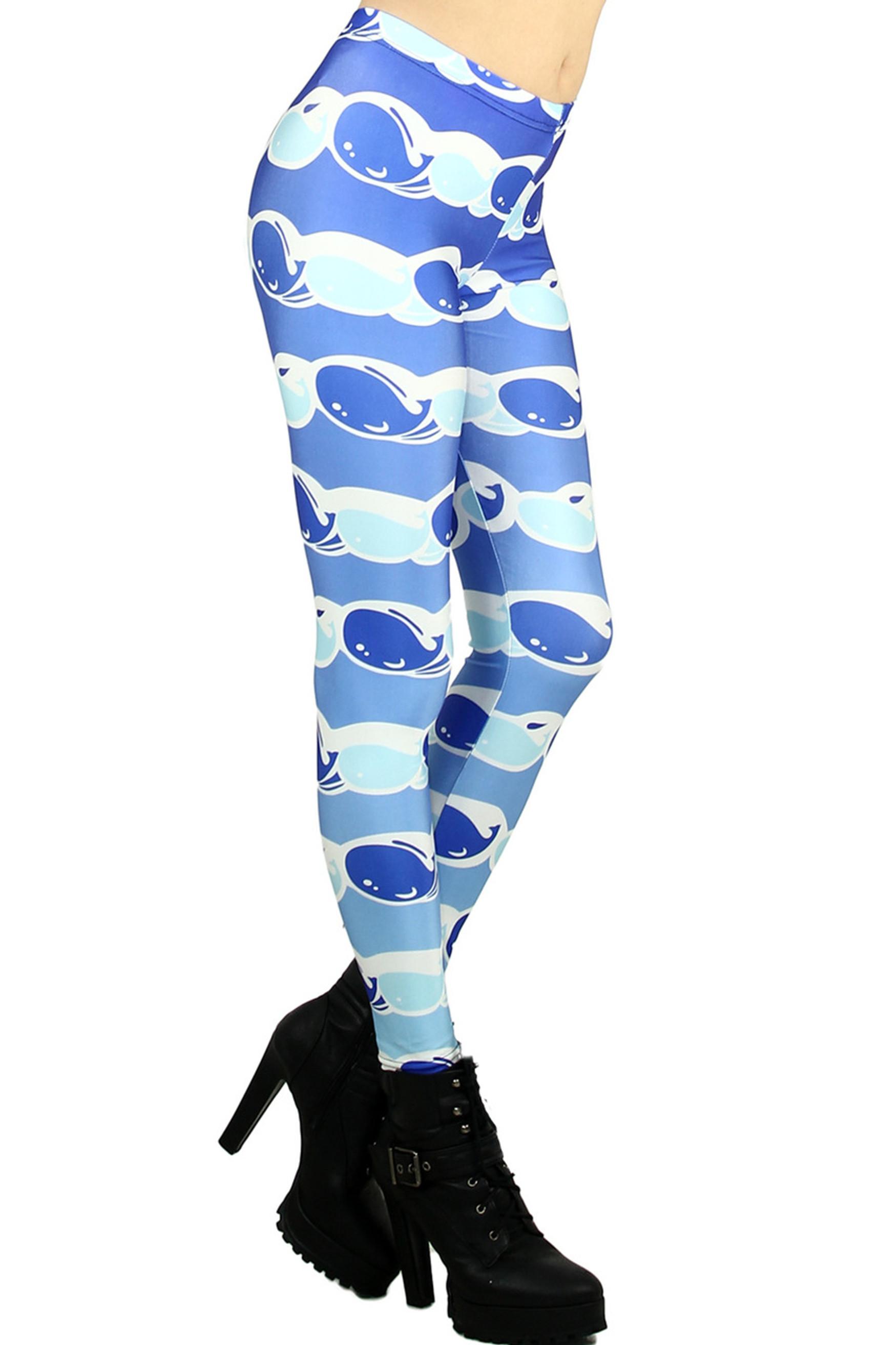 Blue Whale Leggings - Plus Size