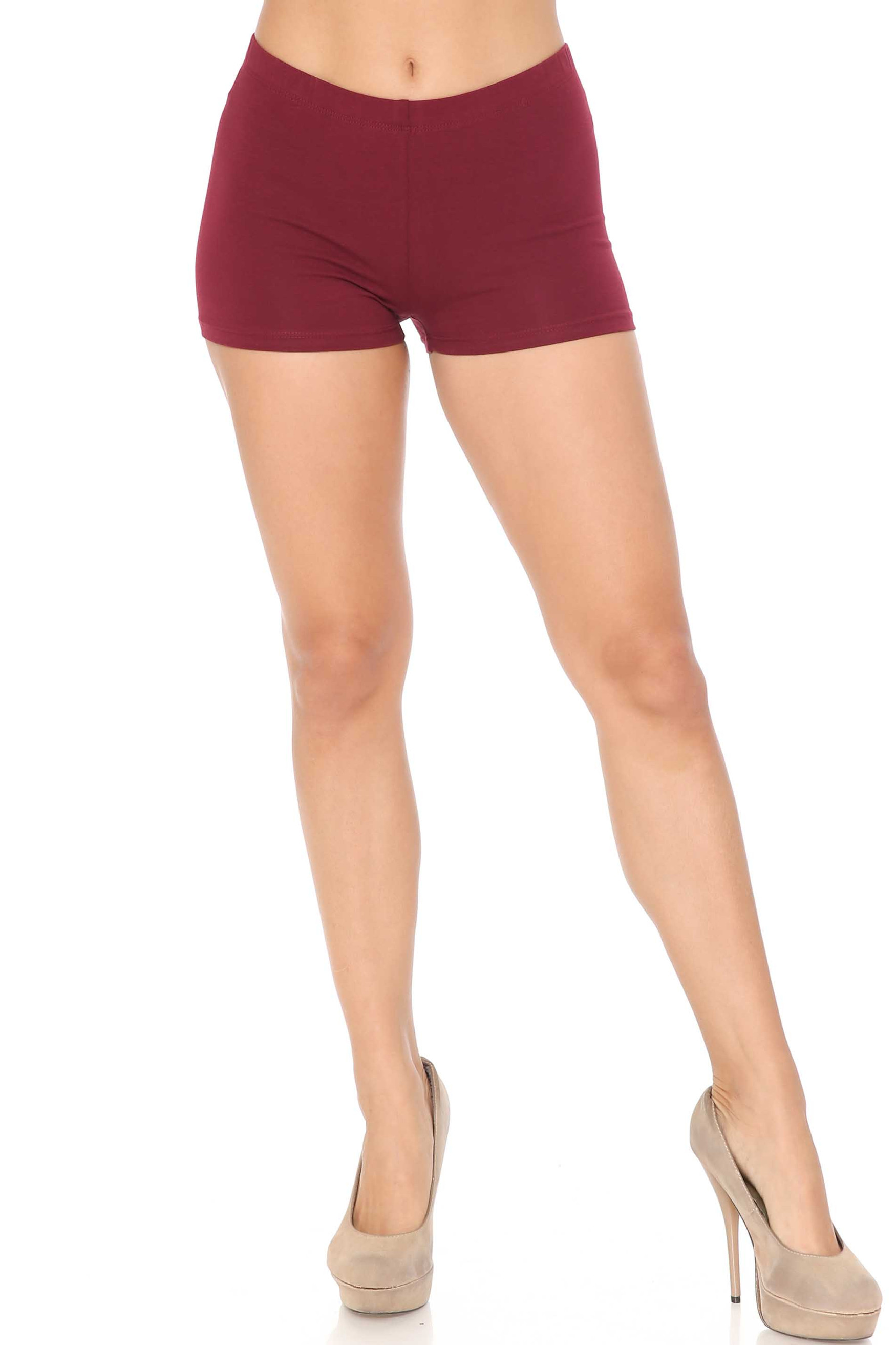 Front view of Burgundy USA Cotton Boy Shorts