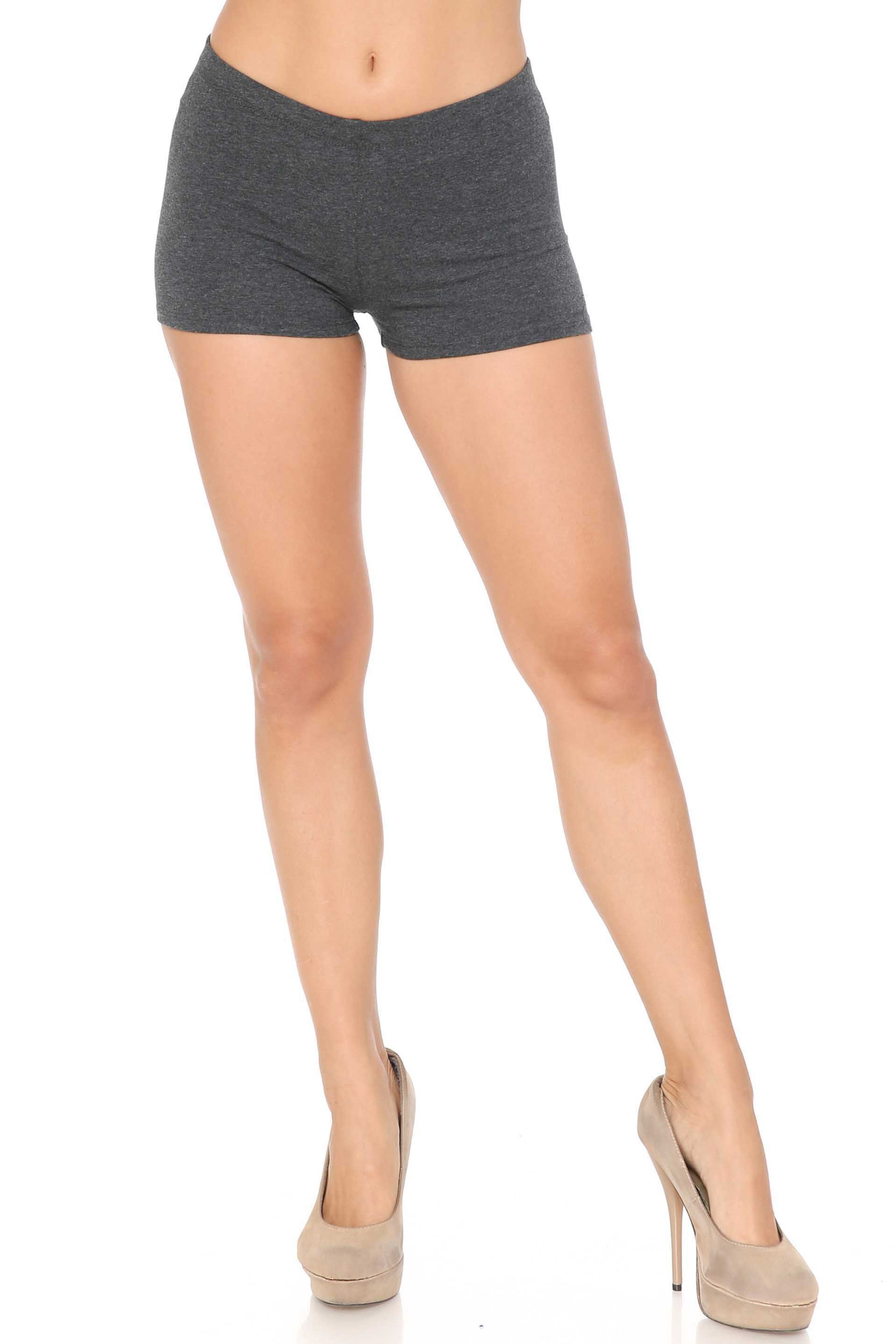 Front view of Charcoal USA Cotton Boy Shorts