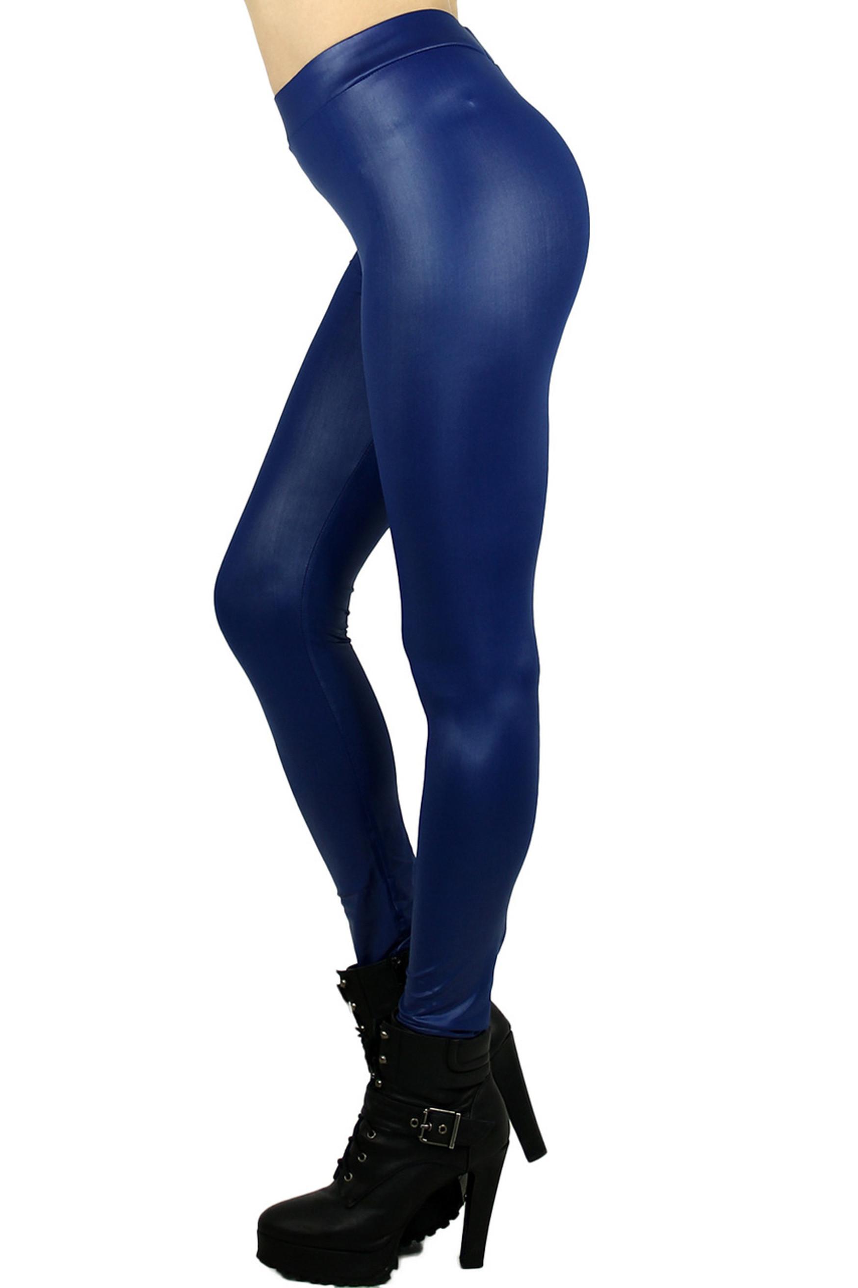 Blue Matte Liquid Cotton Leggings