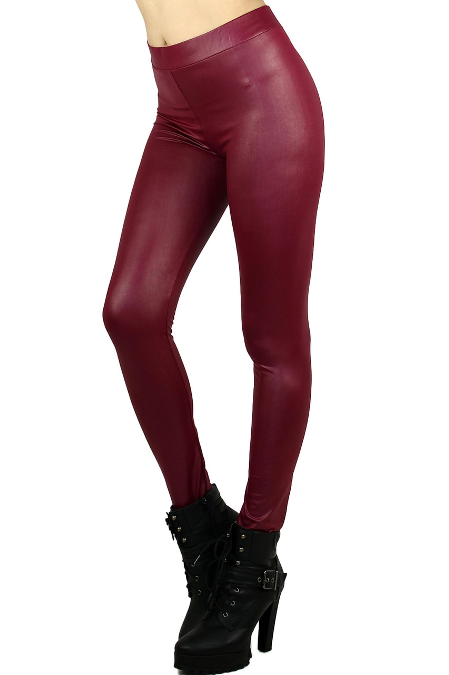 Burgundy Select Matte Liquid Cotton Leggings