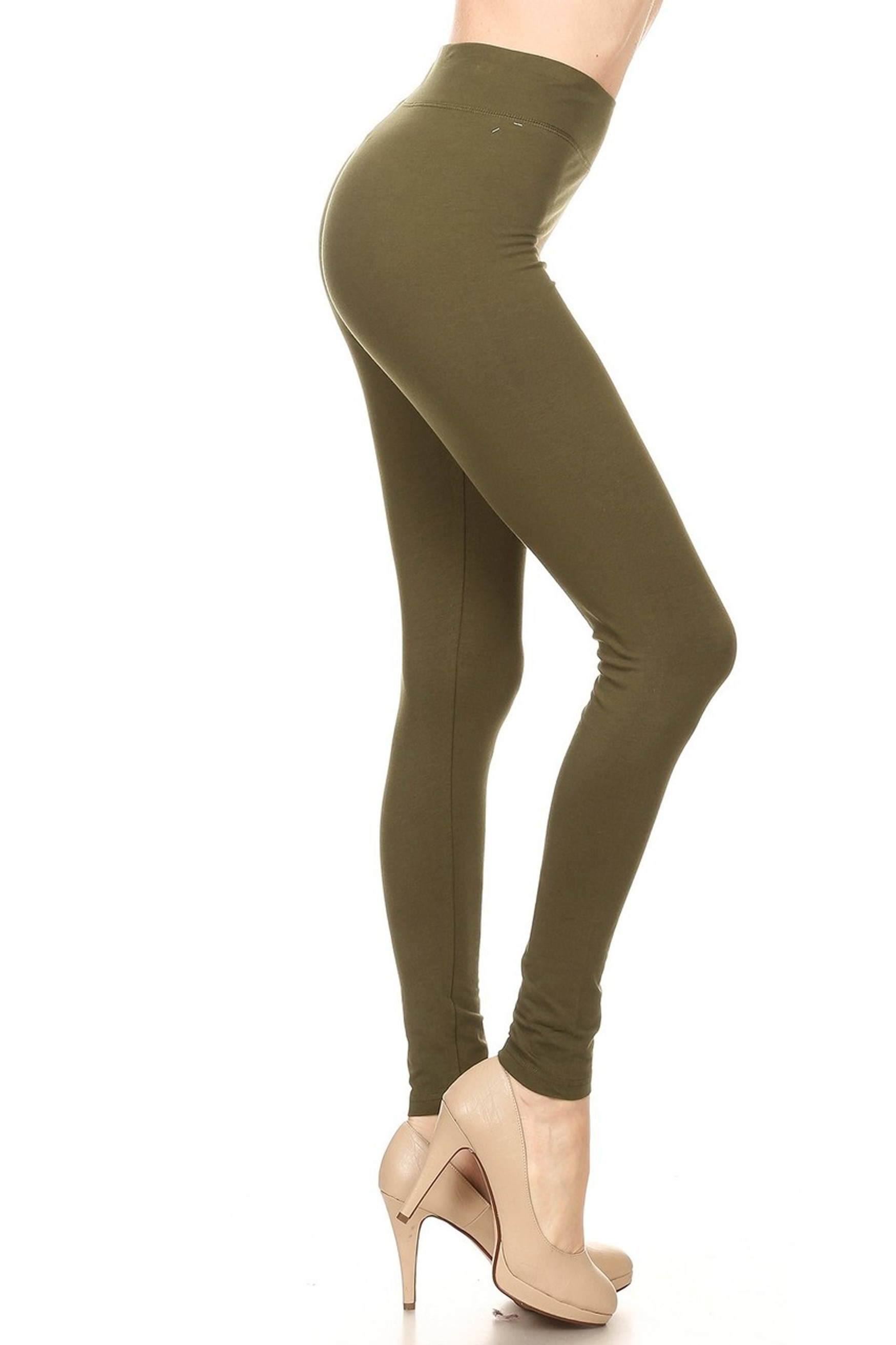 Side image of Olive High Waisted Cotton Sport Leggings