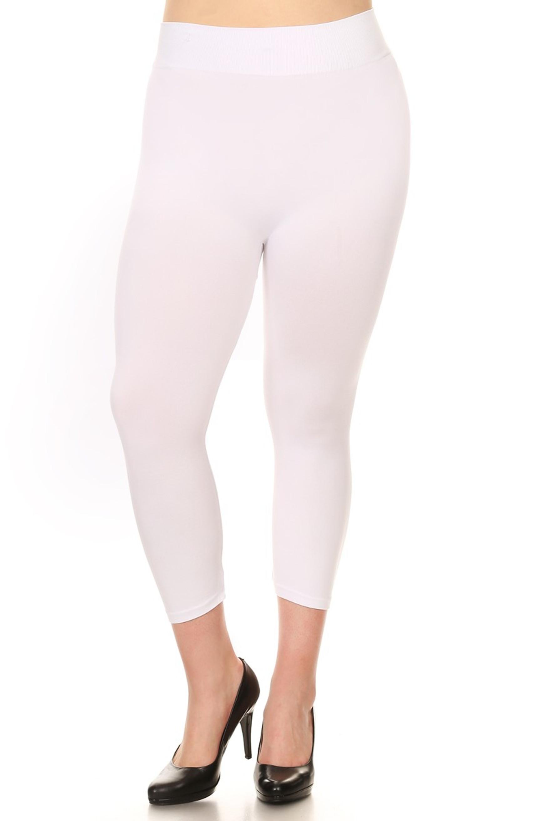 White Basic Spandex Capri Plus Size Leggings