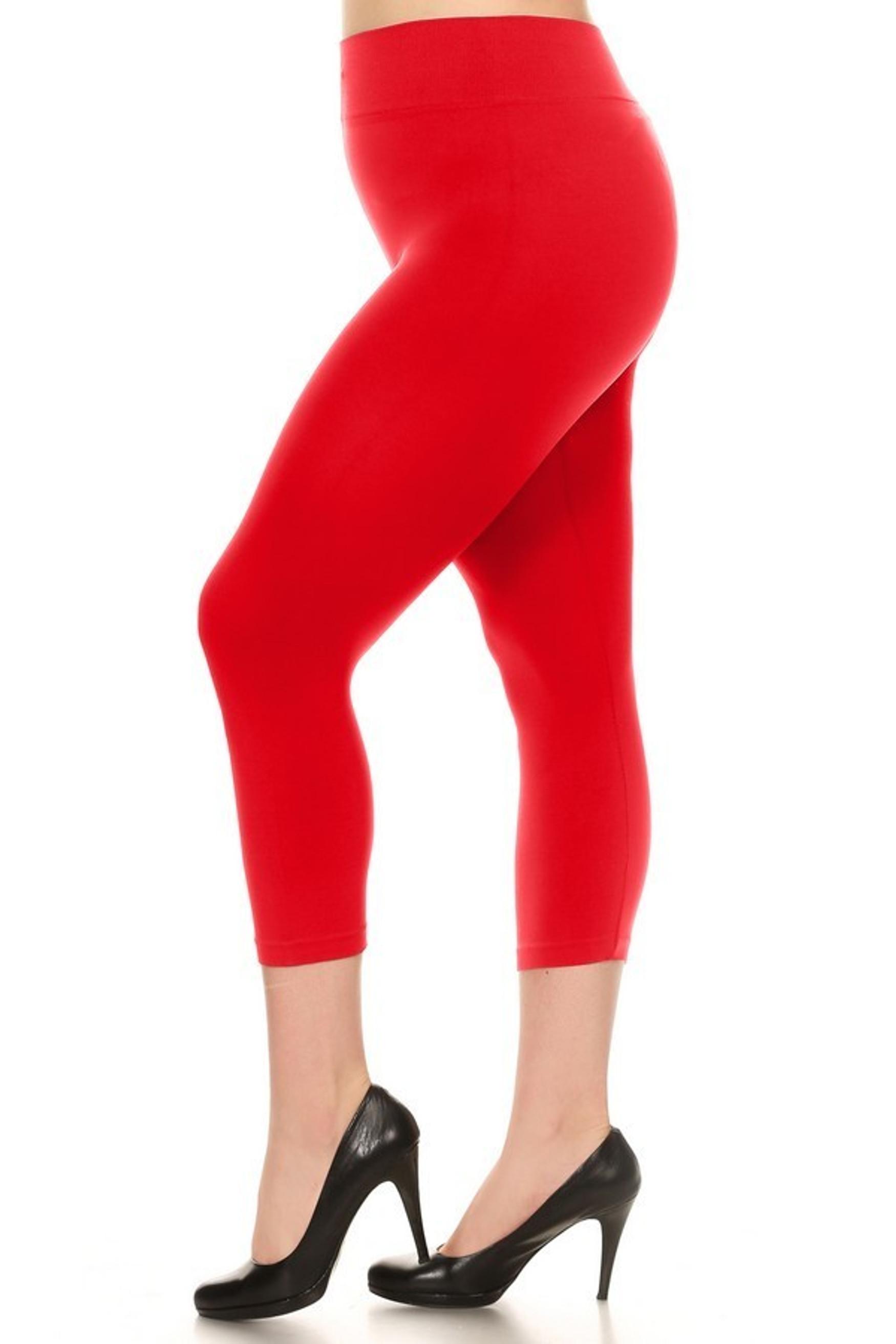 Red Basic Spandex Capri Plus Size Leggings