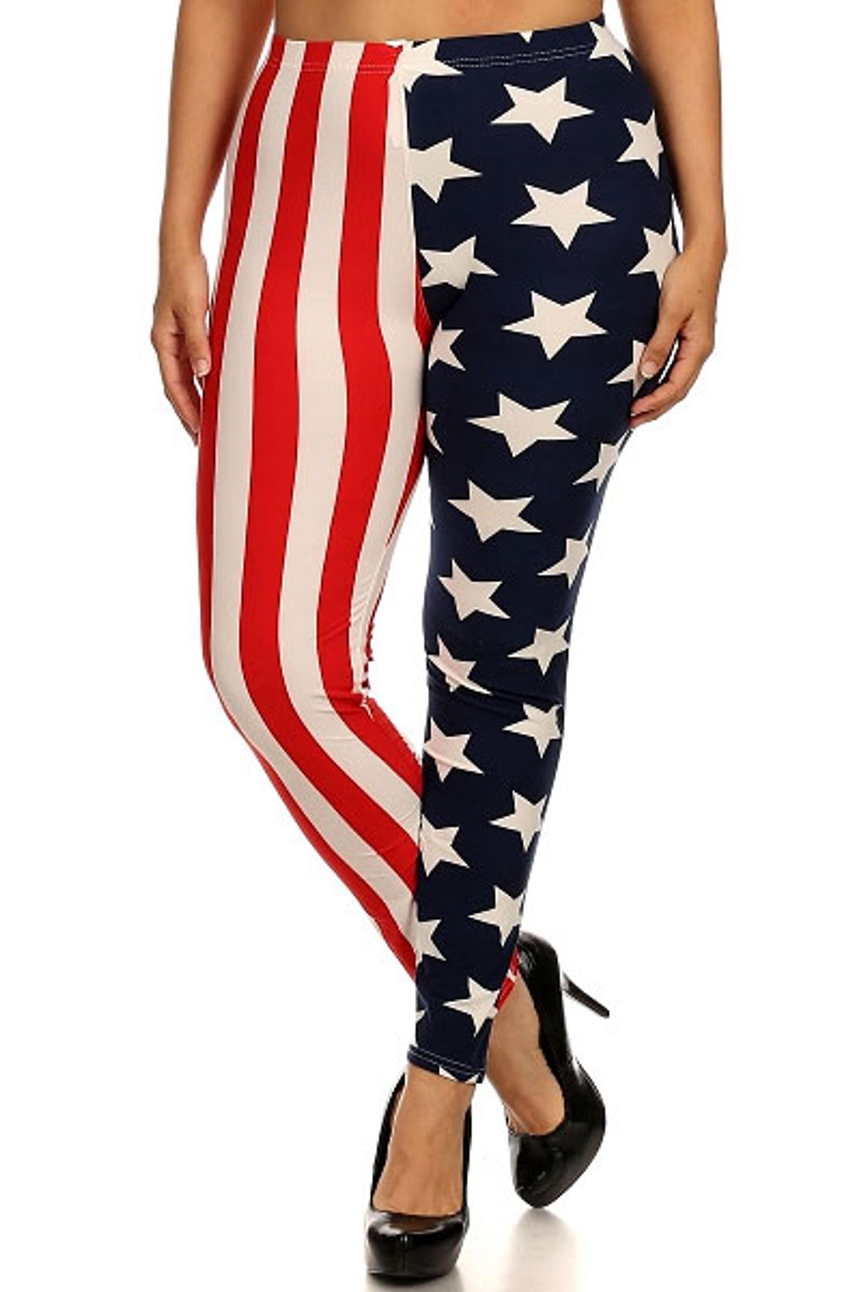 Split American Flag Leggings - Plus Size