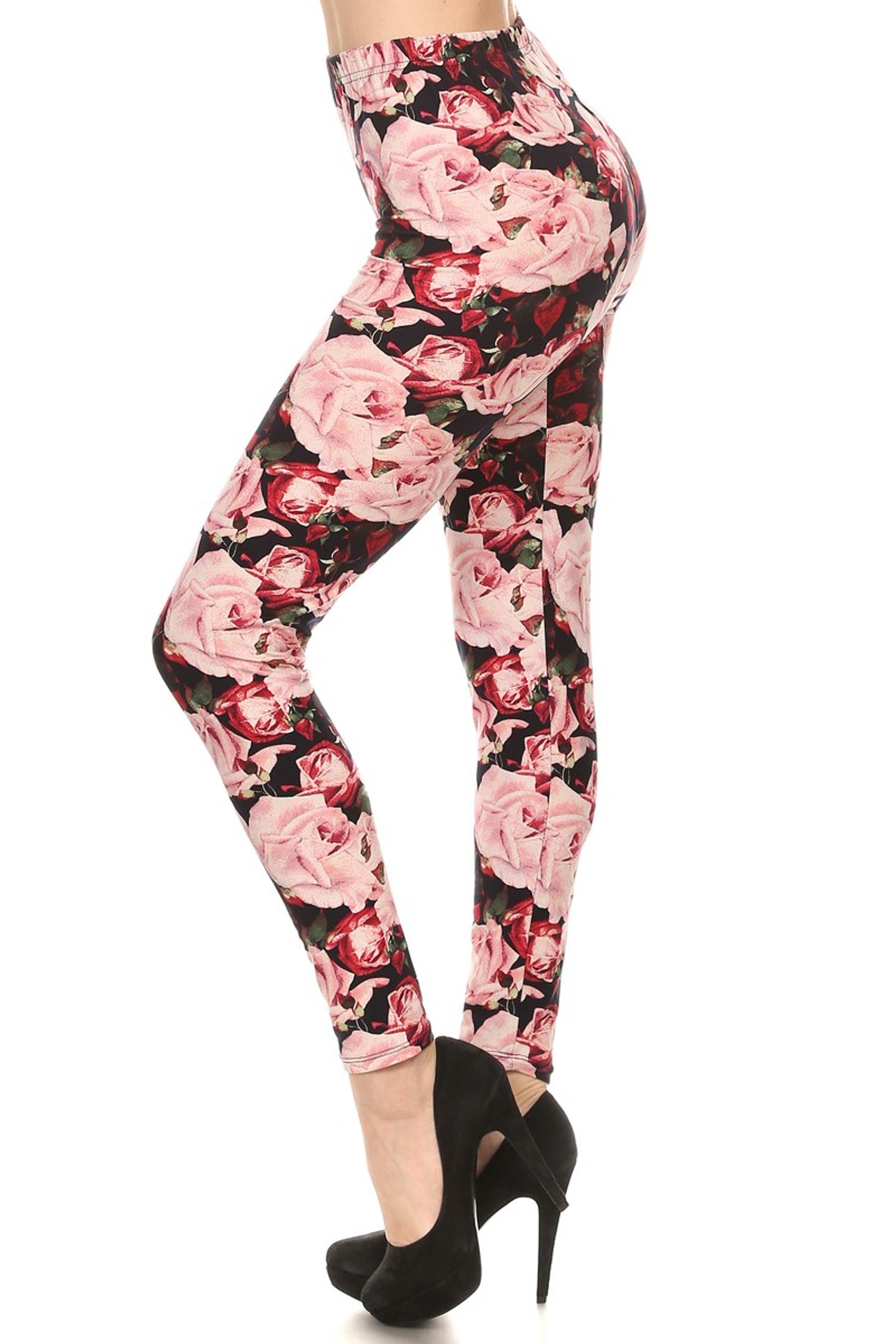 Lush Pink Rose Plus Size Leggings