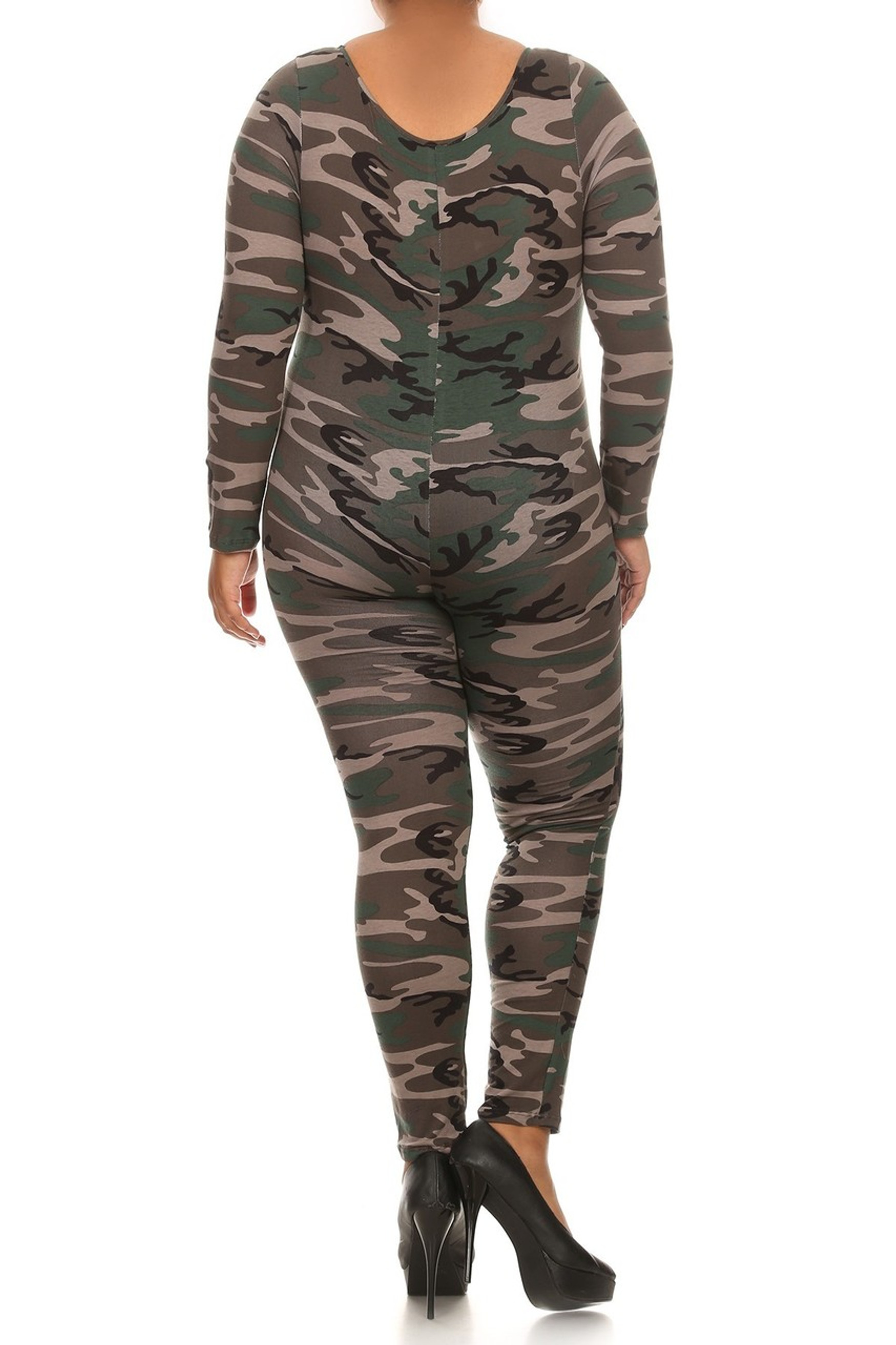 Back image of our plus size Camouflage Full Jumpsuit with its all over authentic camo print, full body coverage and made in the USA