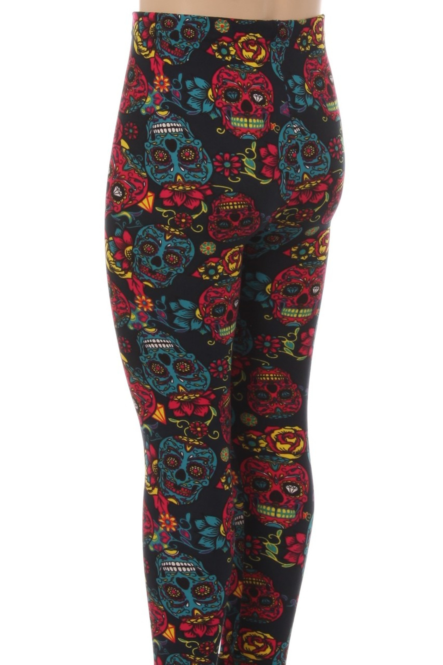 Wholesale Buttery Soft Red and Blue Sugar Skulls Kids Leggings
